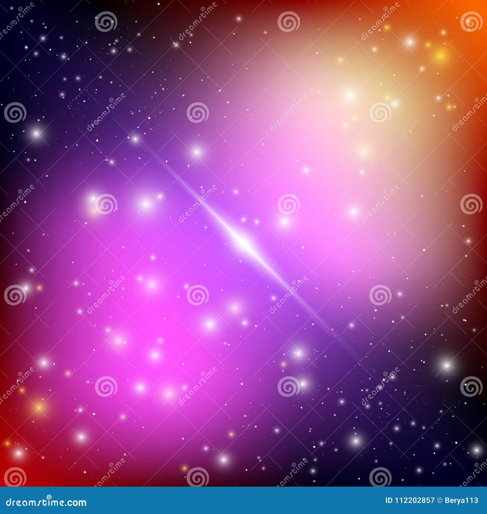 与明亮的光亮的星的宇宙星系背景 与星云和星团外籍人太空飞船的幻觉飞碟