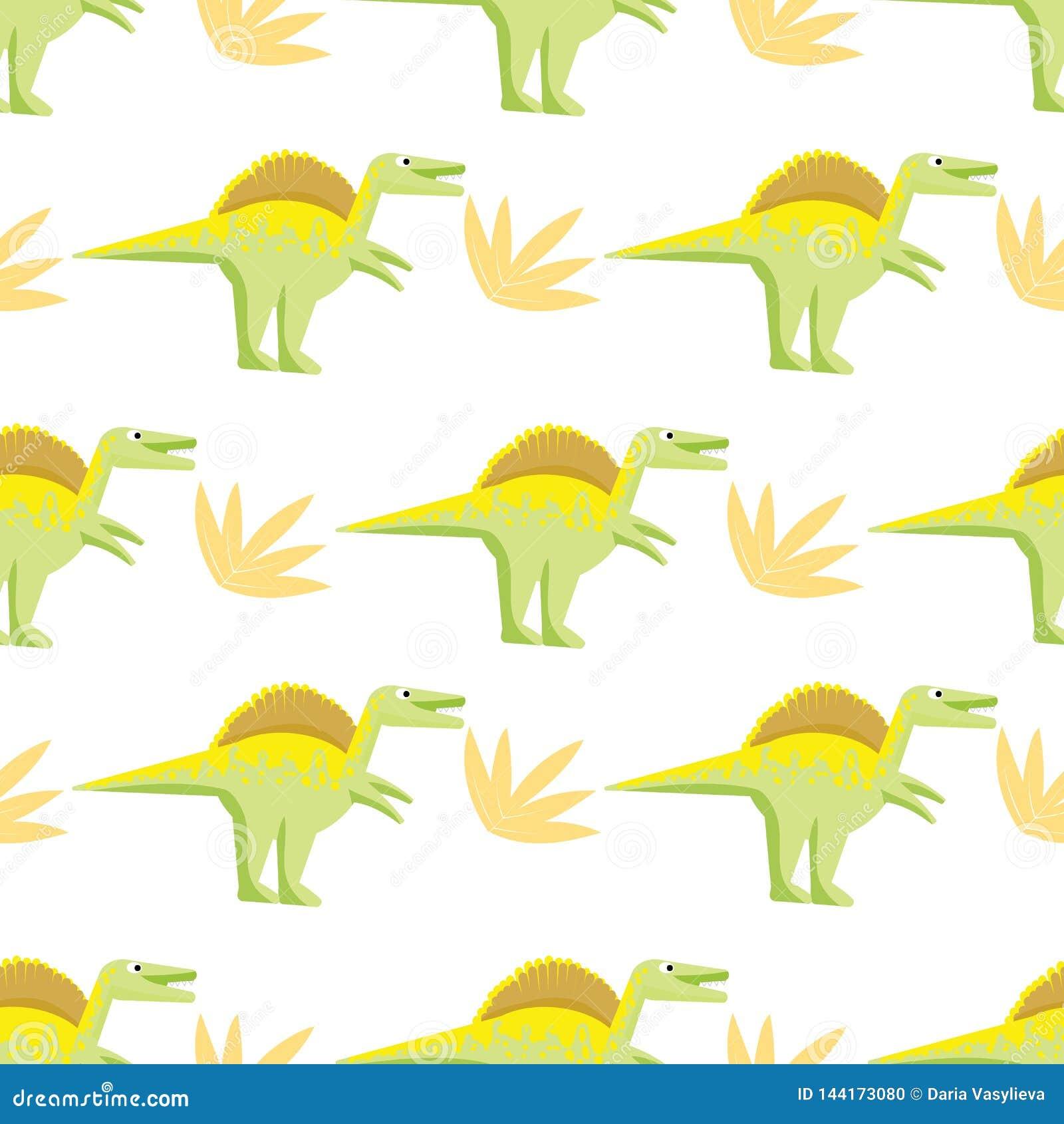 与明亮的恐龙的无缝的样式