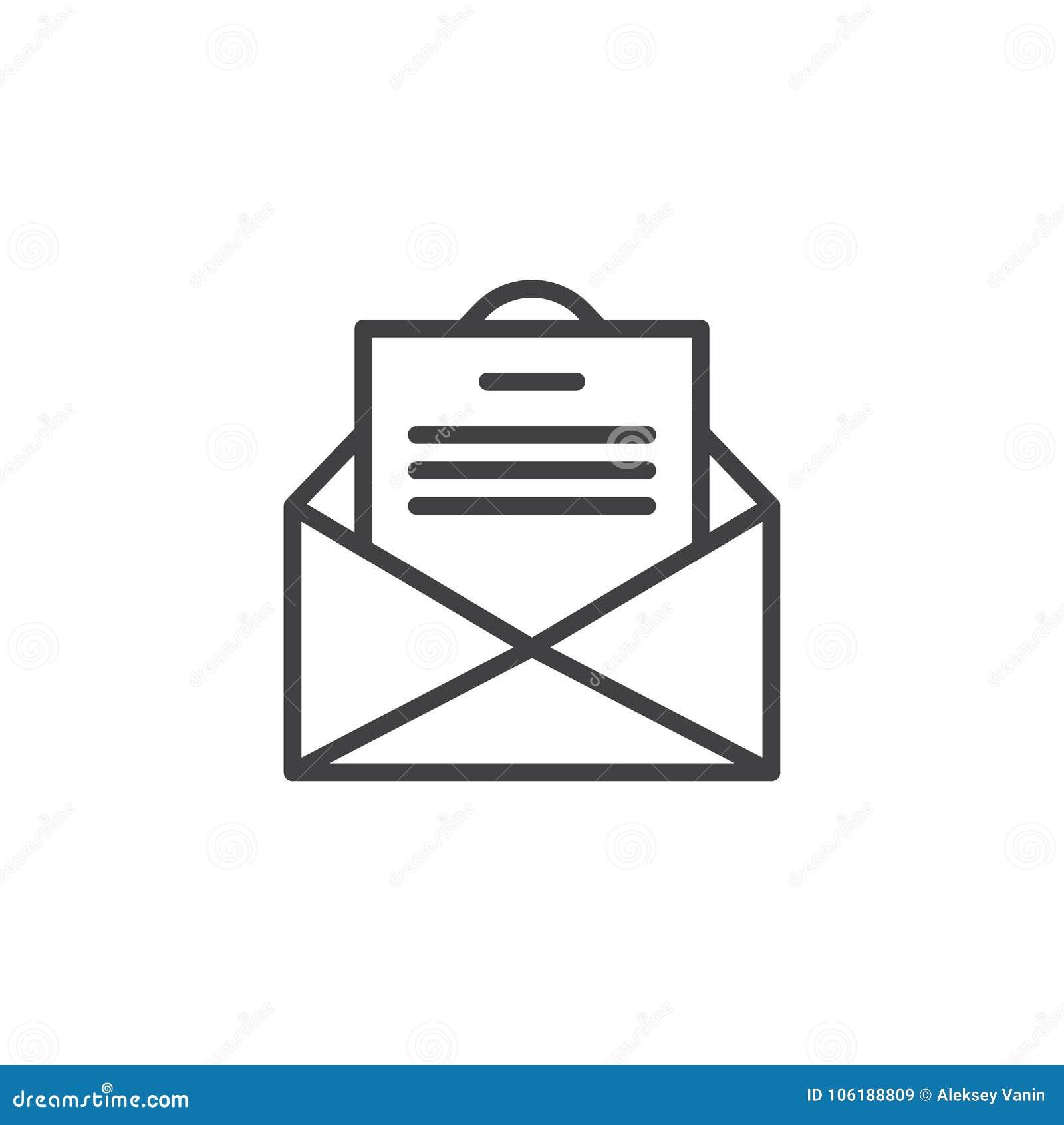 与明信片卡片信件线象的信封电子邮件图片