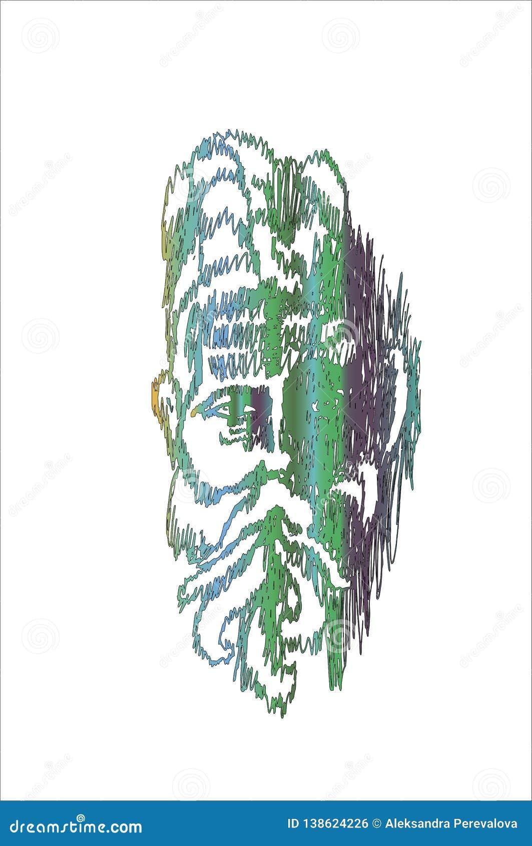 与明智一个印度老的人的画象的颜色霓虹例证 深刻的注视