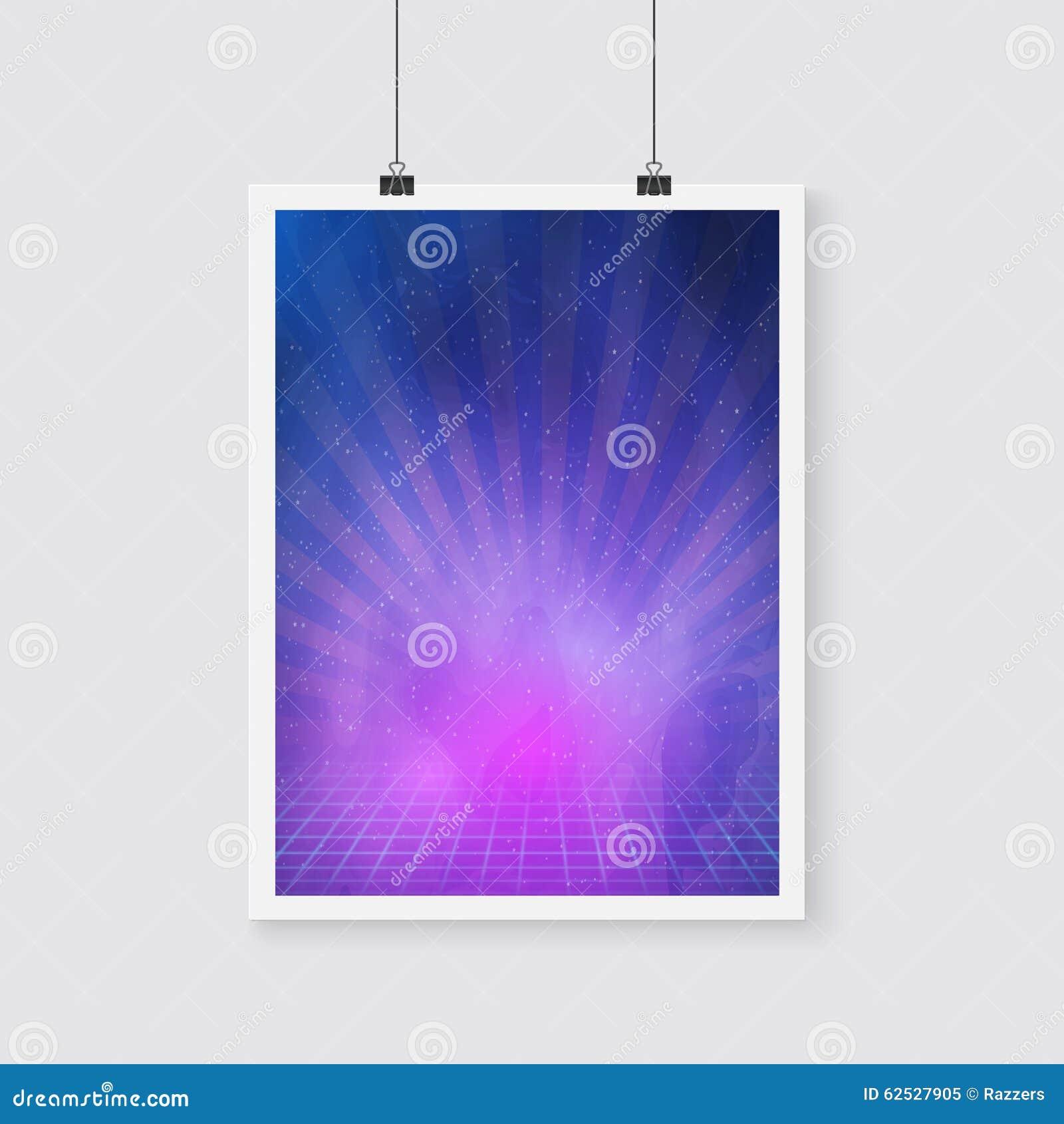 与星云,星,氖的外层空间减速火箭的霓虹传染媒介海报