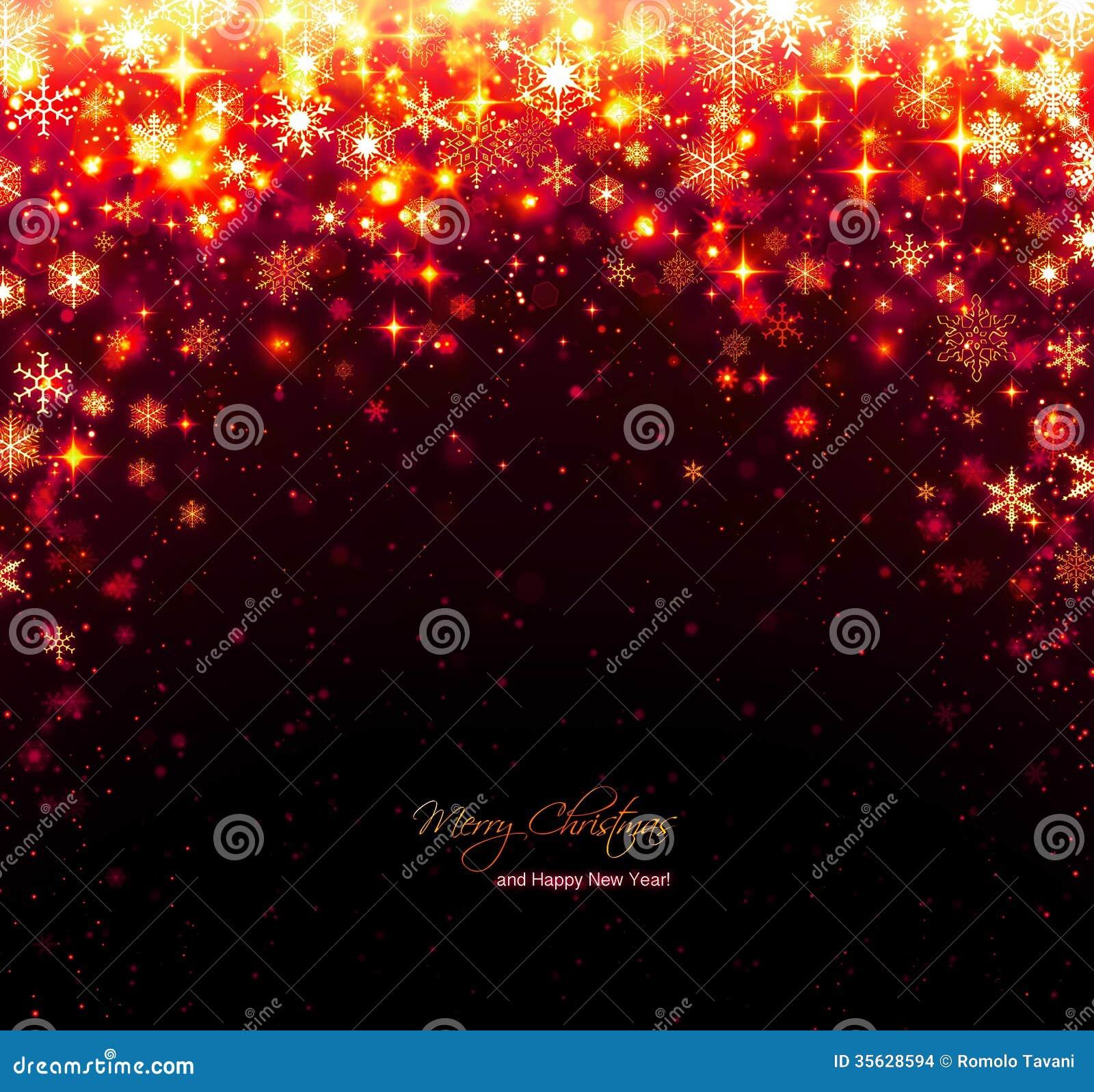 与星和雪花的红色圣诞节背景