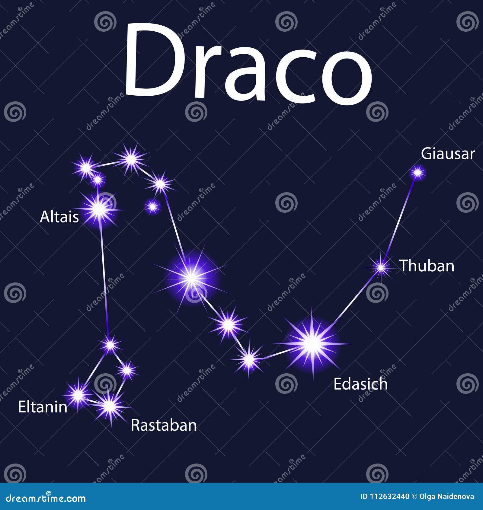 与星的星座天龙座夜向量例证. 插画包括有- 112632440