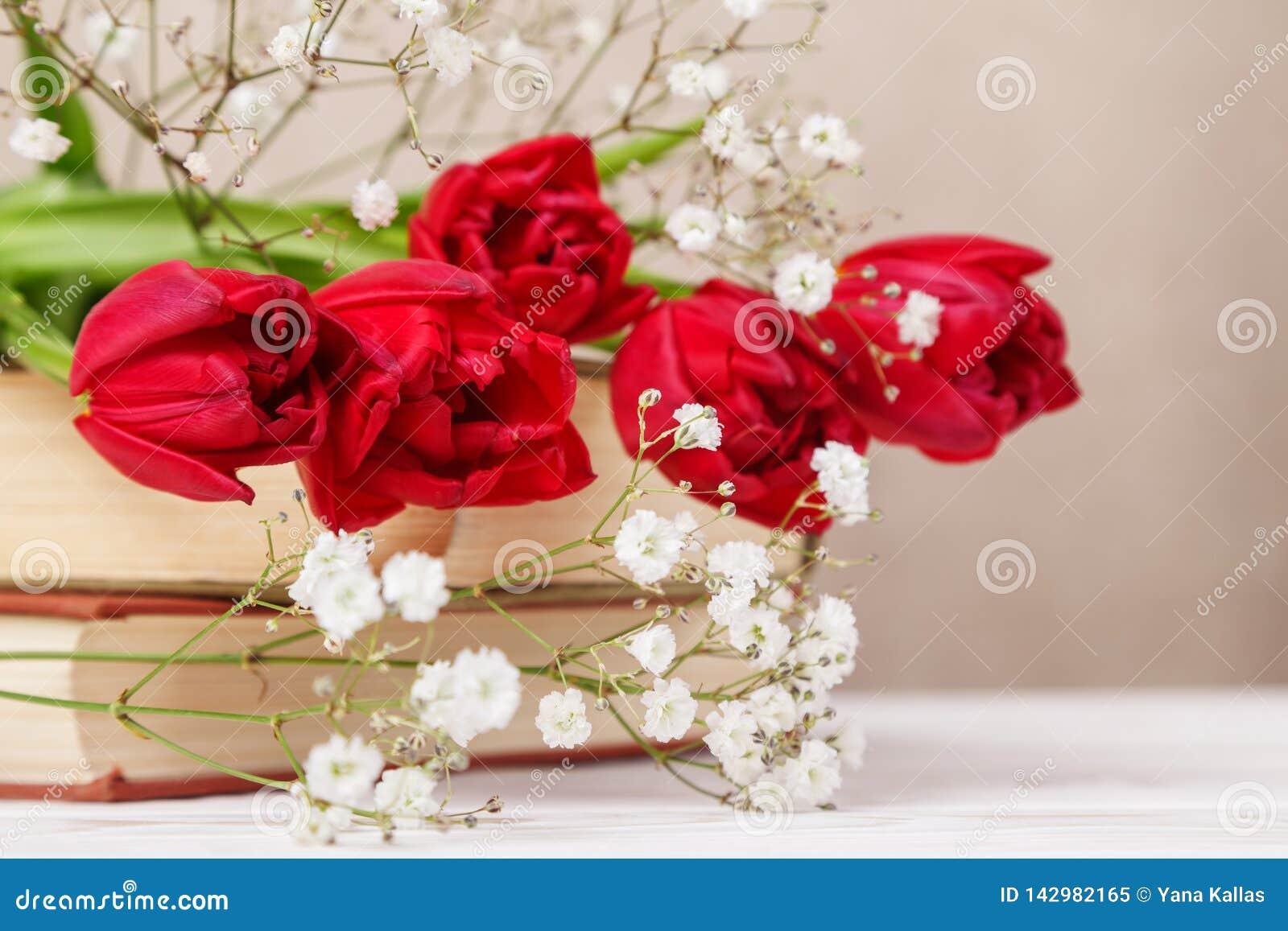 与春天红色郁金香的葡萄酒静物画和在米黄背景的书 母亲节,妇女的天概念