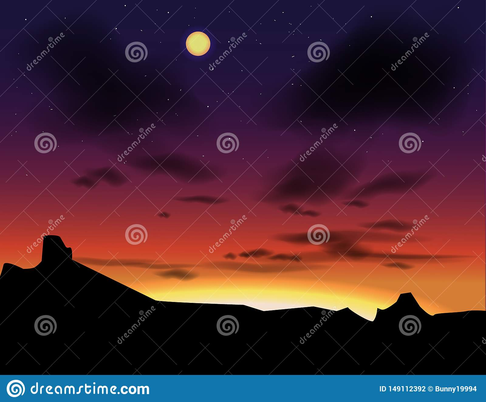 与晚上天空的传染媒介风景 日落作为背景