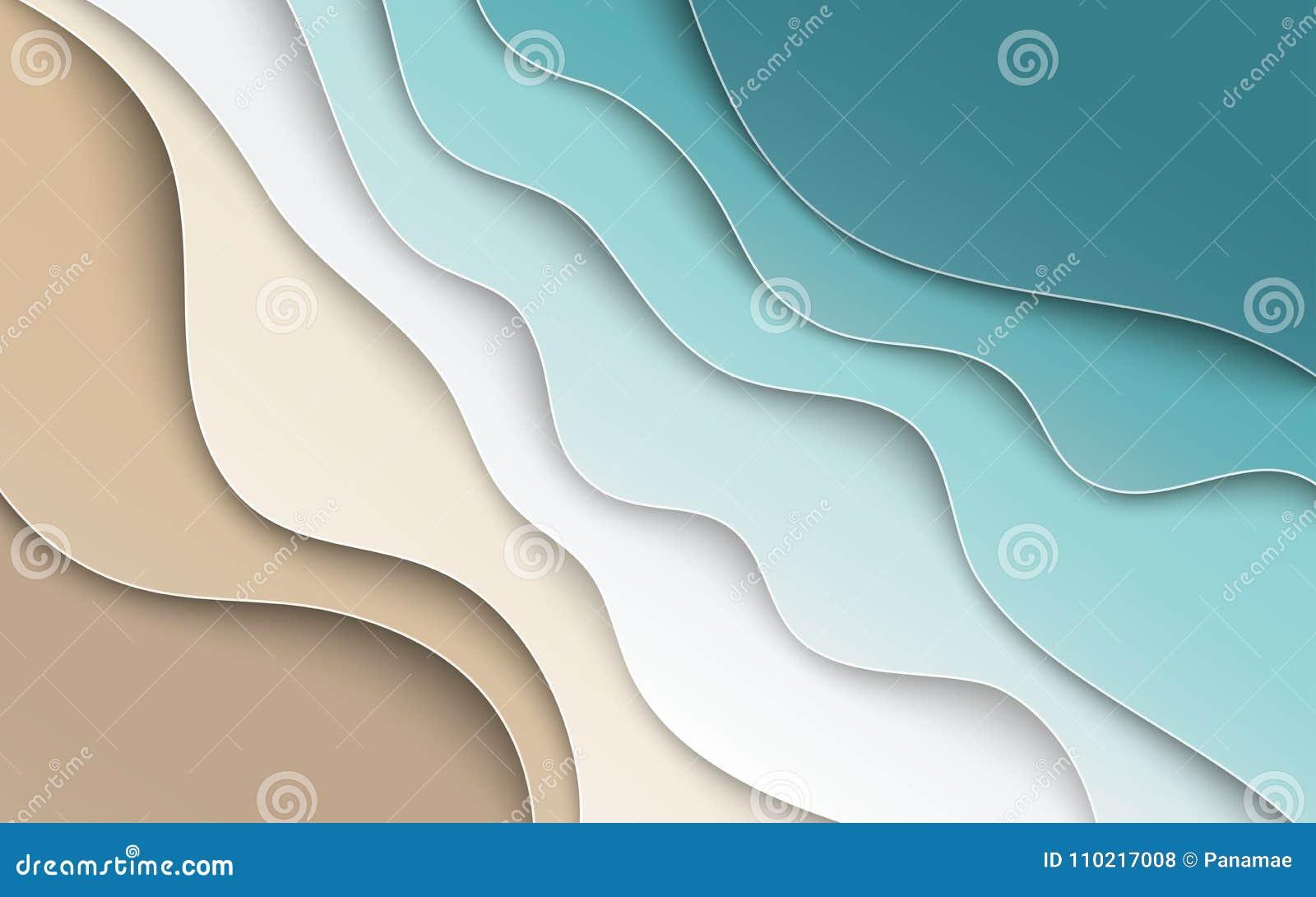 与曲线纸的抽象蓝色海和海滩夏天背景
