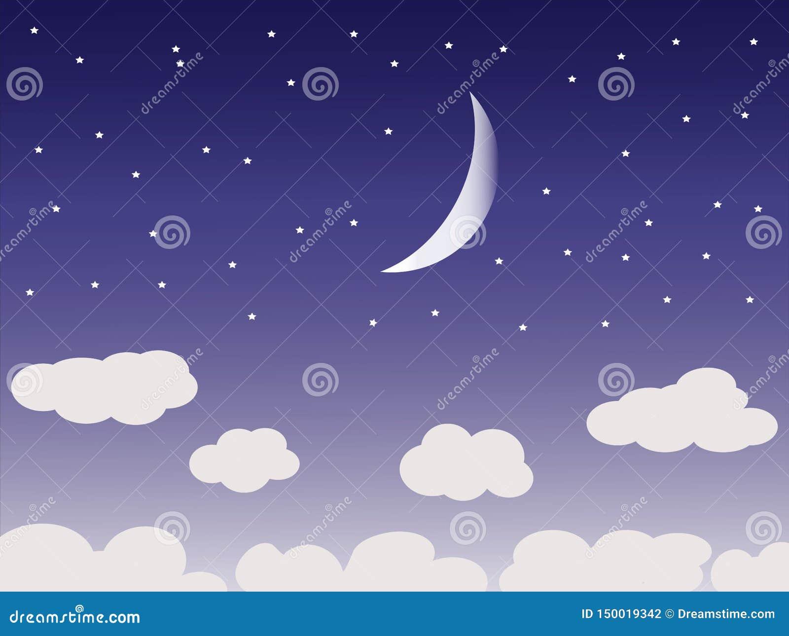 与月亮和云彩的美丽的夜空