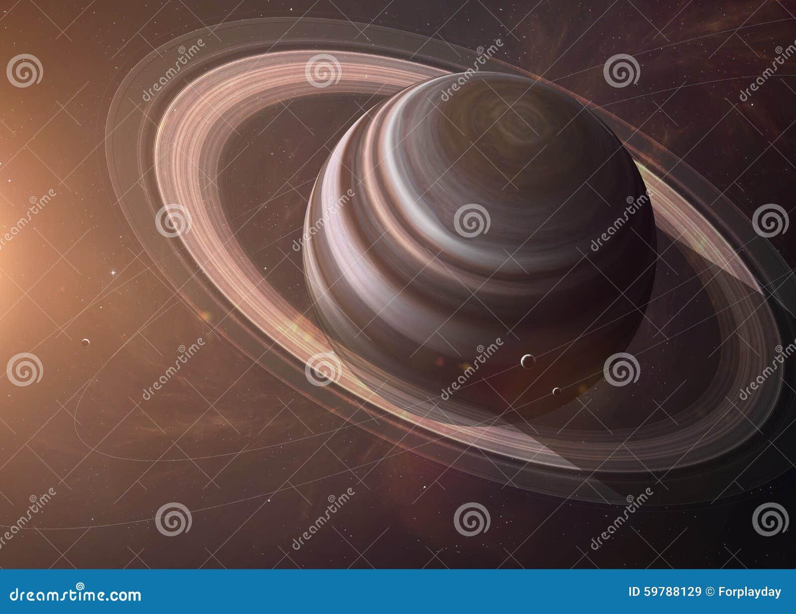与月亮的土星从显示所有他们的空间