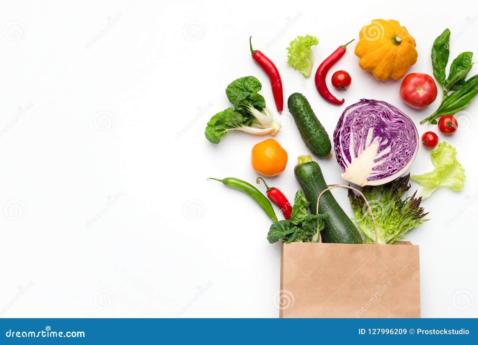 与有机菜的Eco友好的购物袋