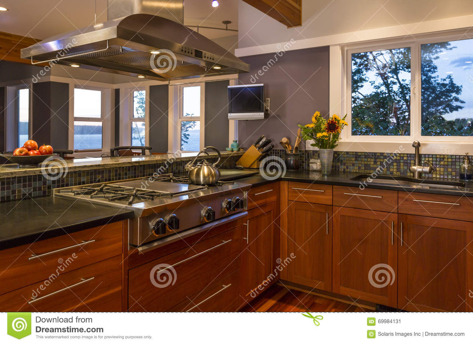 与木内阁、煤气炉、出气孔敞篷和看法窗口的当代高级家庭厨房内部