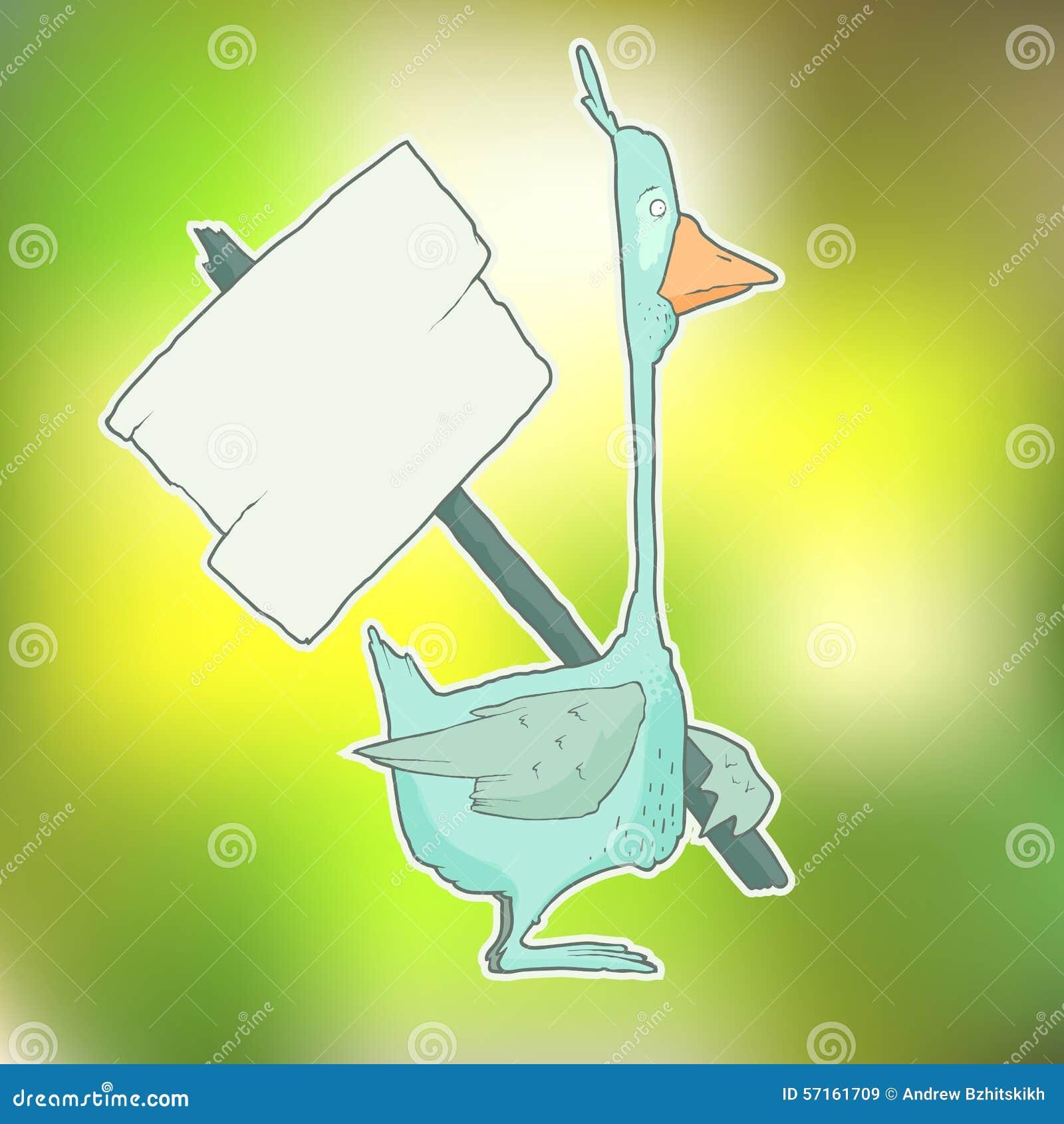 与木海报的漫画人物鹅