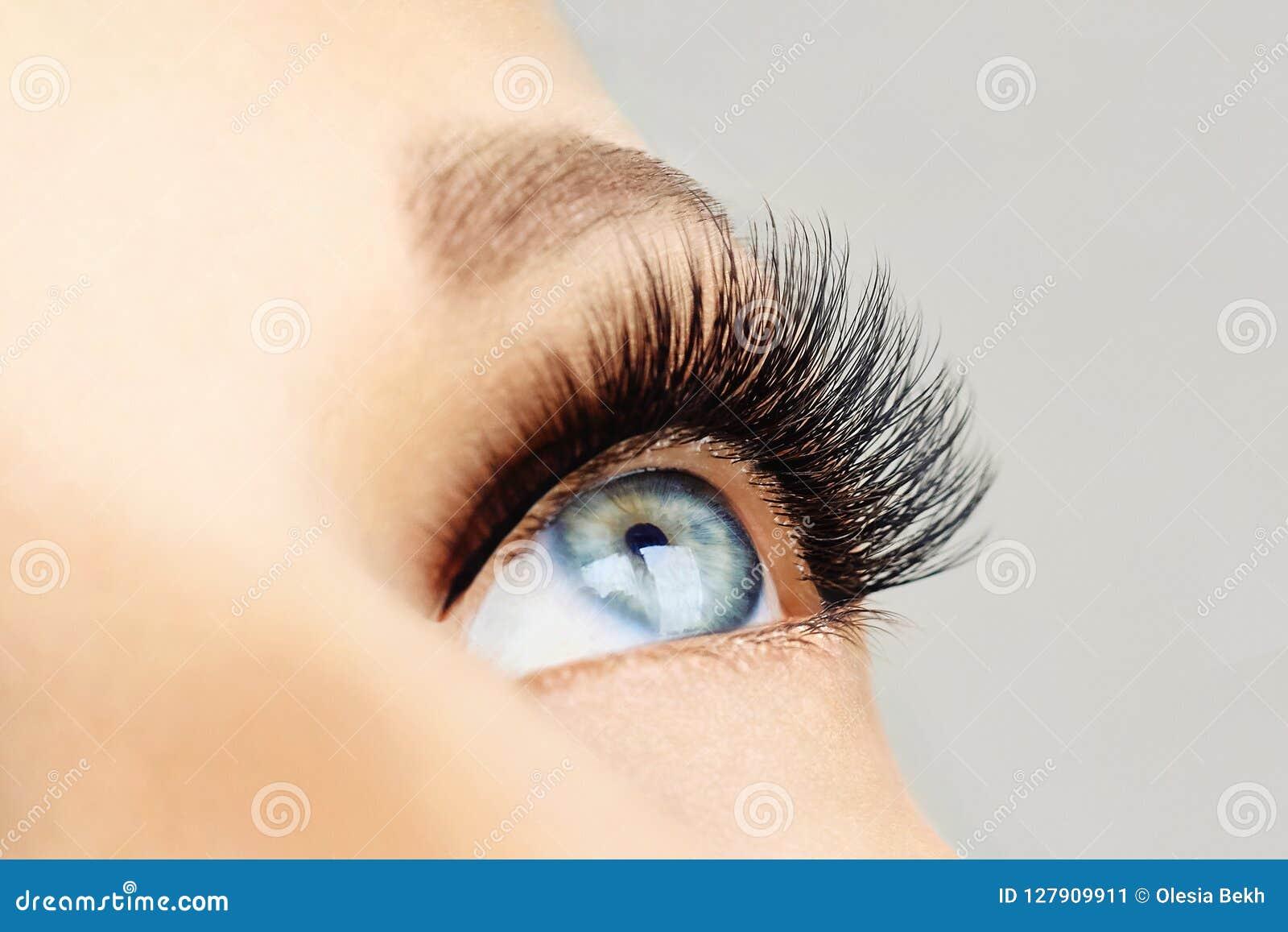 与极端长的假睫毛和黑划线员的女性眼睛 睫毛引伸,构成,化妆用品,秀丽