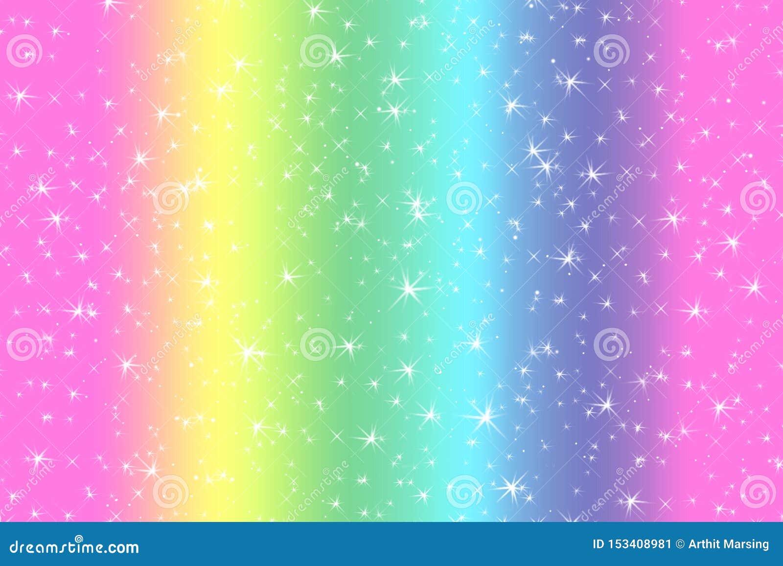 与柔光星的彩虹颜色抽象背景提出了梦想概念背景在甜内容的 彩虹颜色