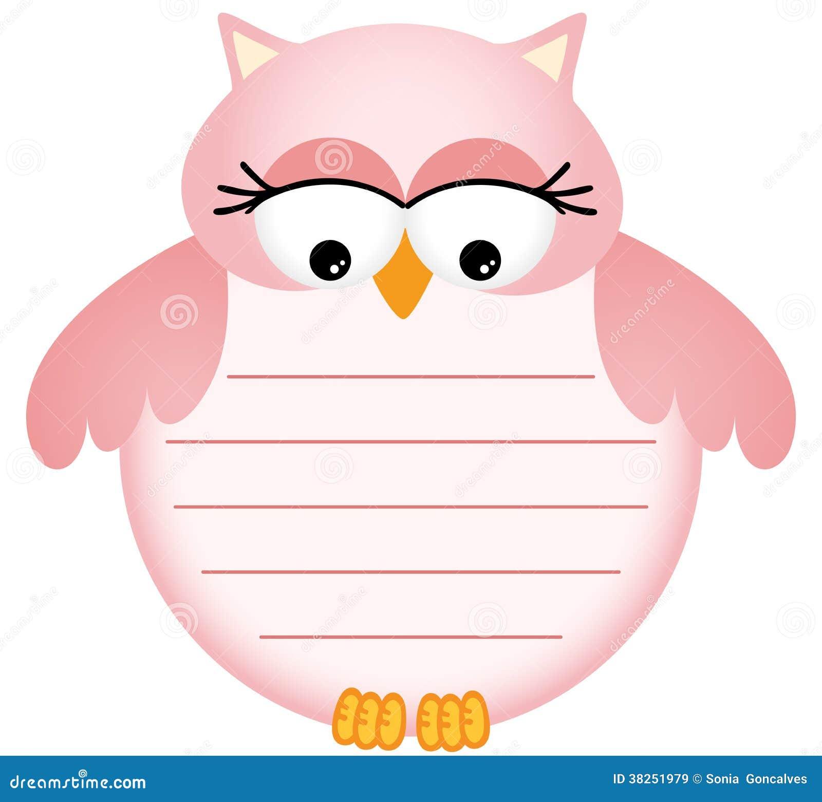 与标签的桃红色小猫头鹰