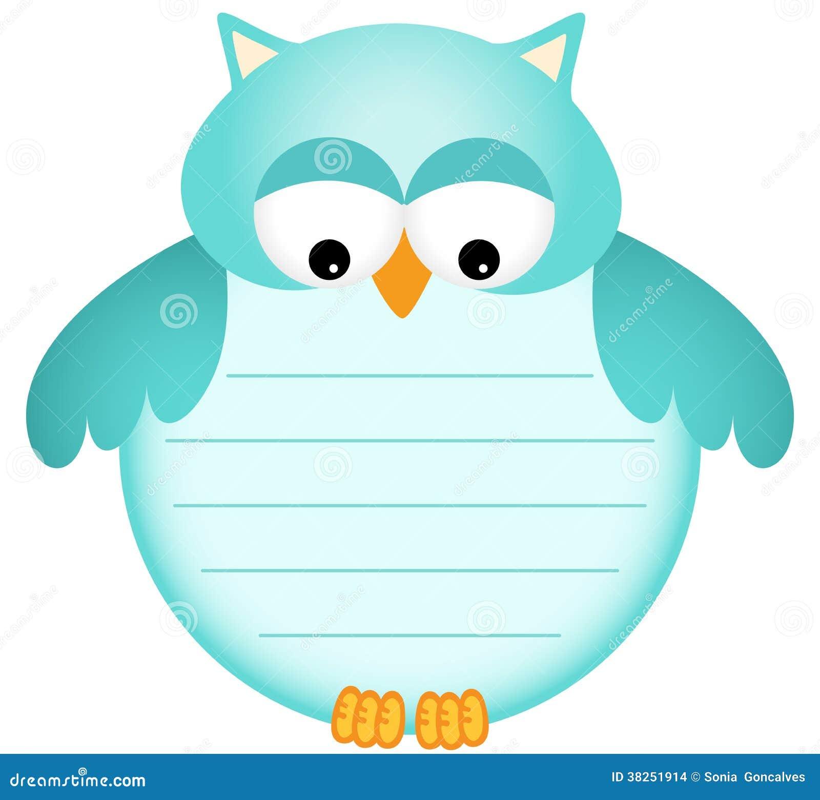 与标签的蓝色婴儿猫头鹰