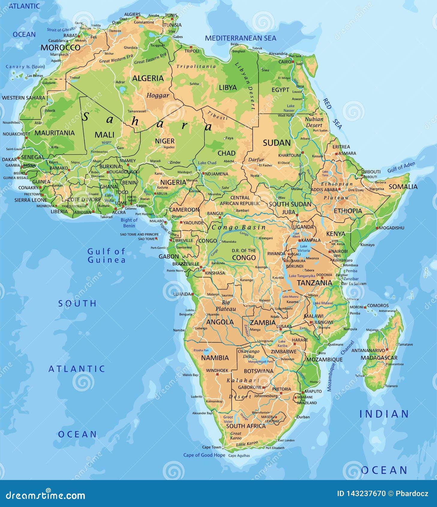 与标记的高详细的非洲物理地图
