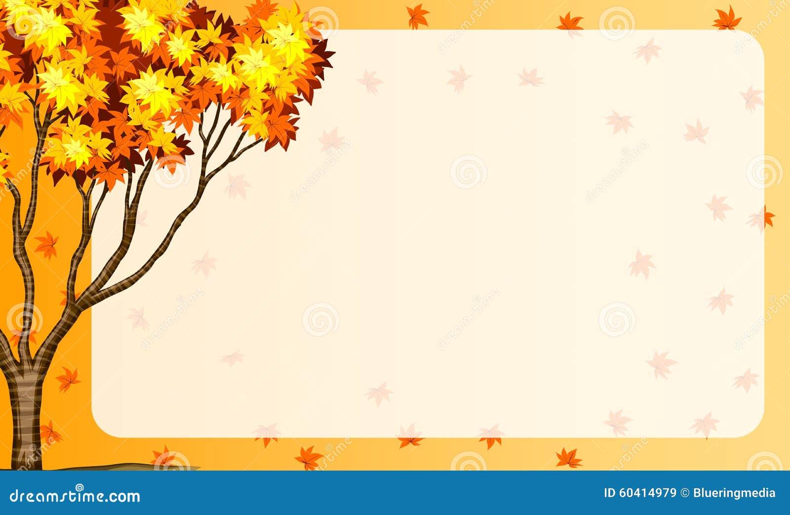 与树和桔子叶子的秋天场面