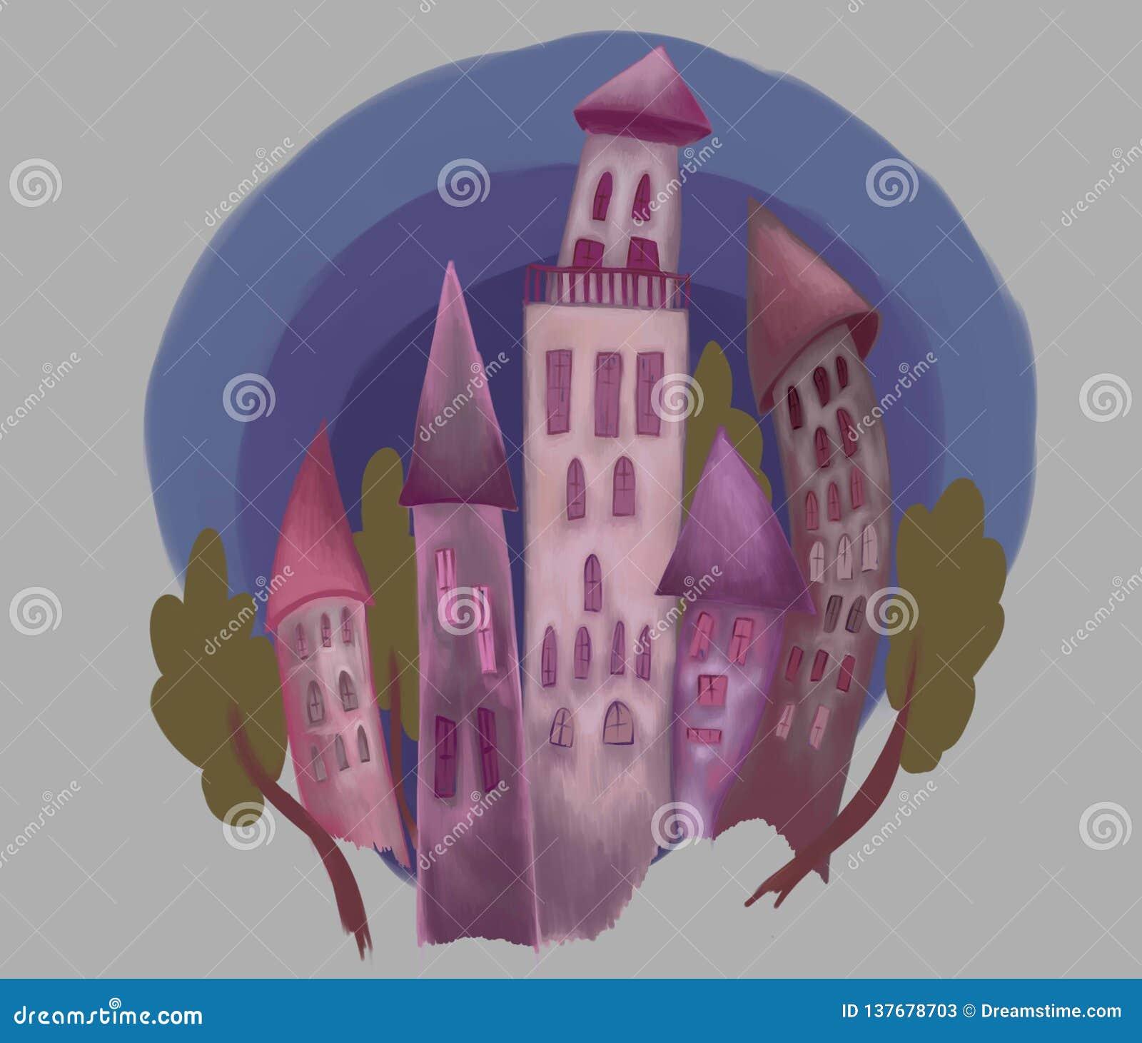 与树的虚构的紫色城堡反对天空