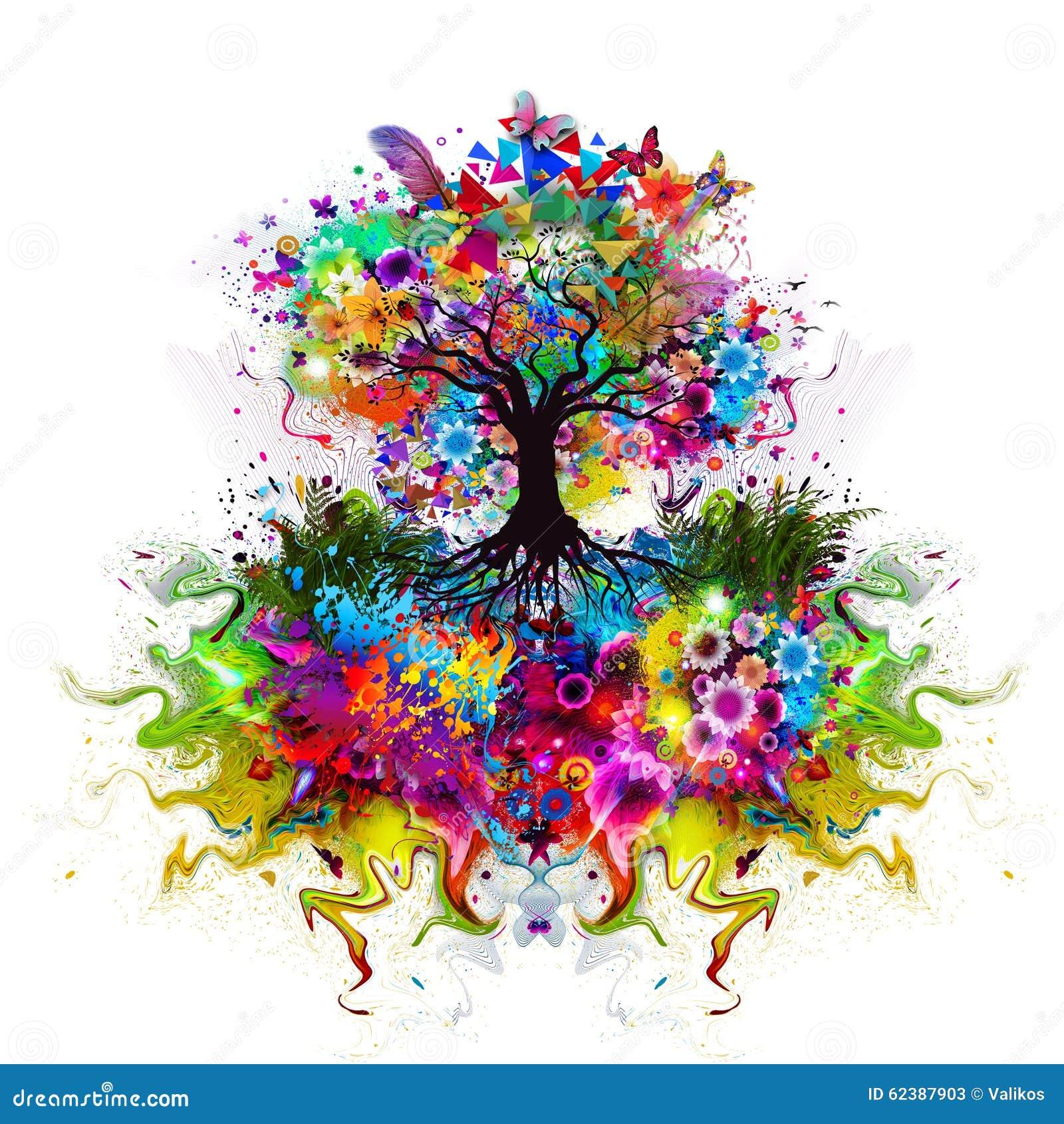 与根的抽象多彩多姿的树