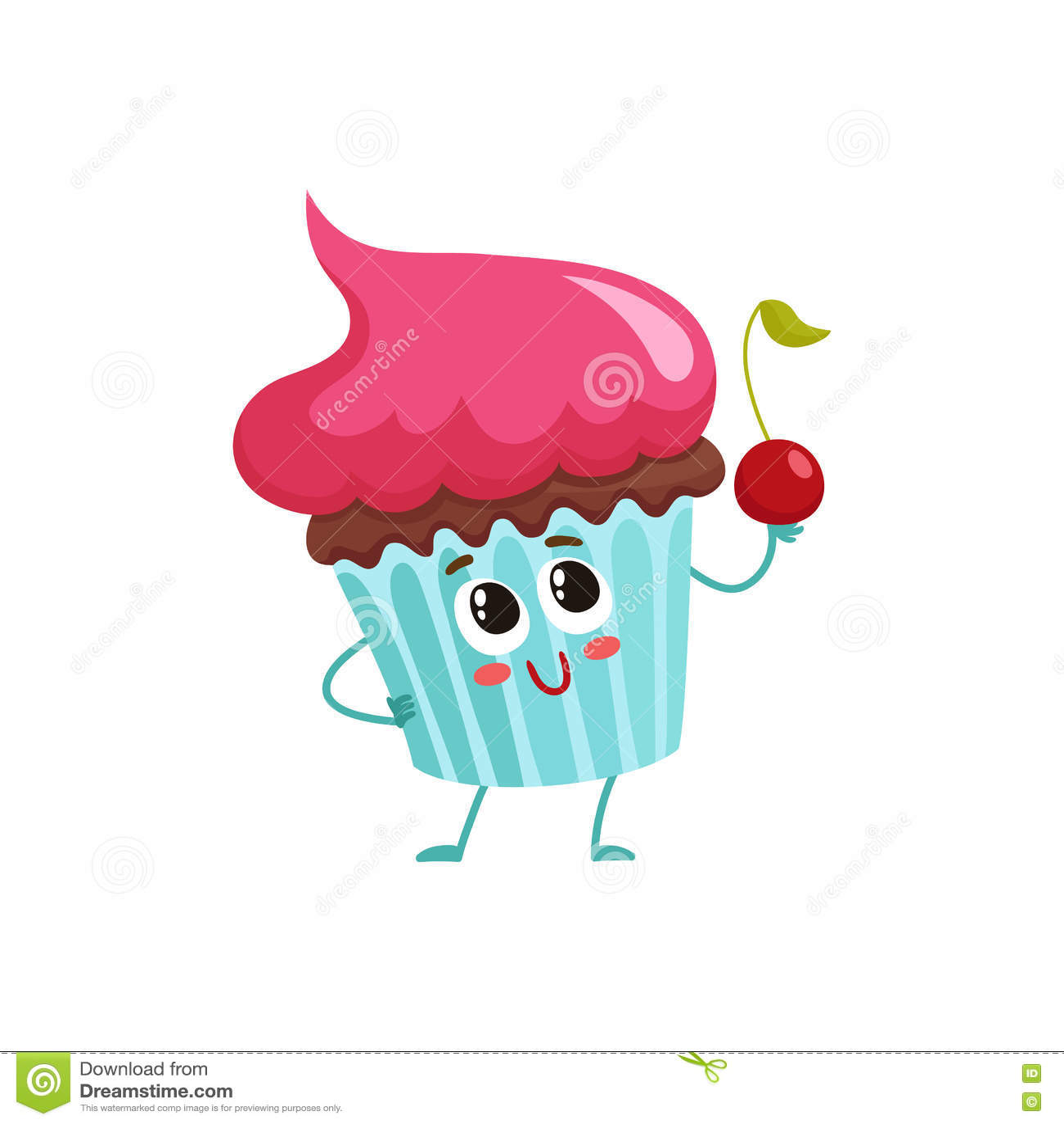 与桃红色奶油色顶部的滑稽的杯形蛋糕字符