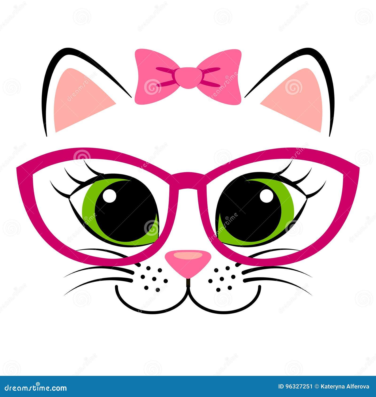 与桃红色弓和玻璃的逗人喜爱的白色小猫 与全部赌注的少女印刷品T恤杉的