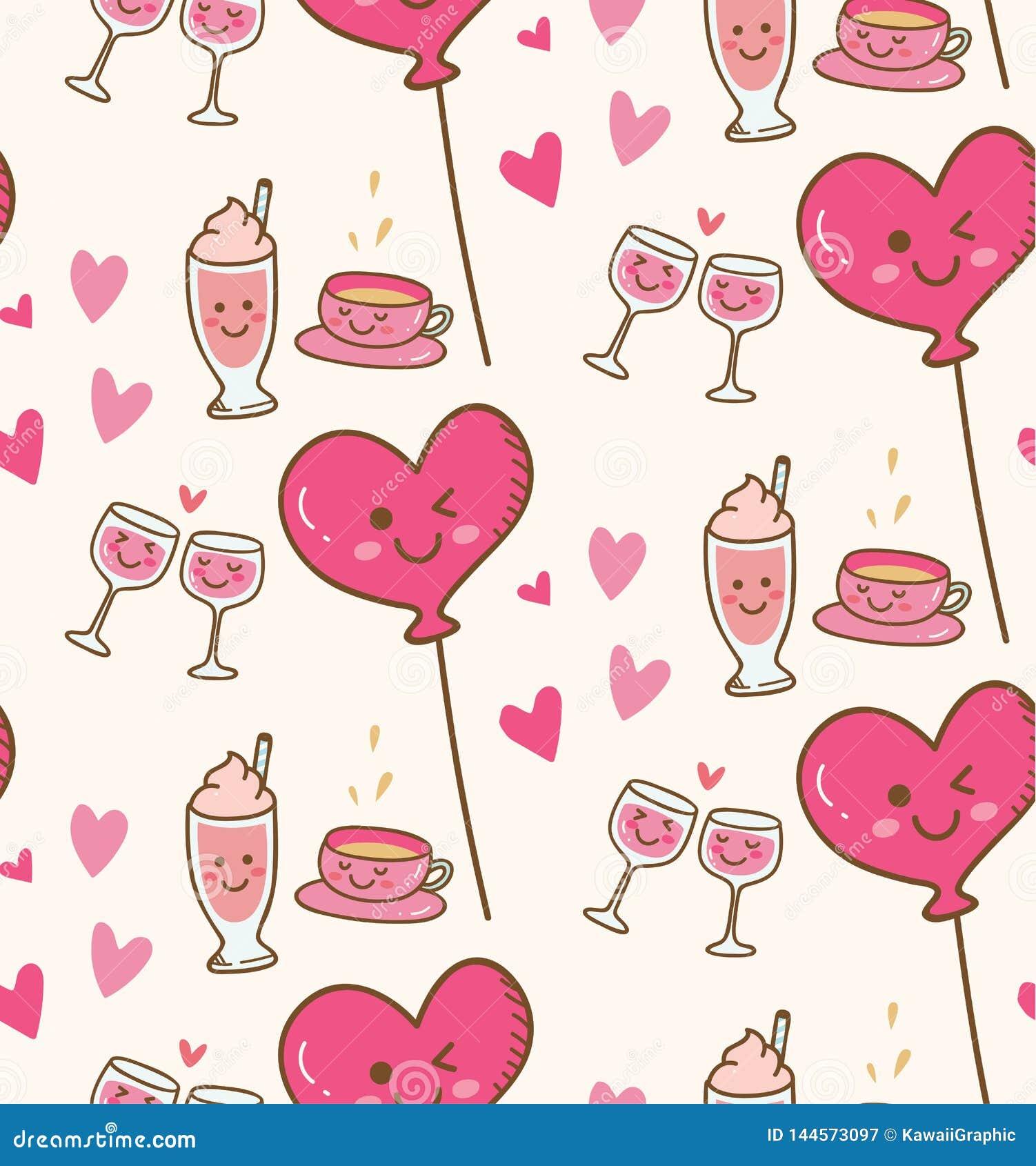 与桃红色心脏气球的各种各样的饮料在kawaii背景中
