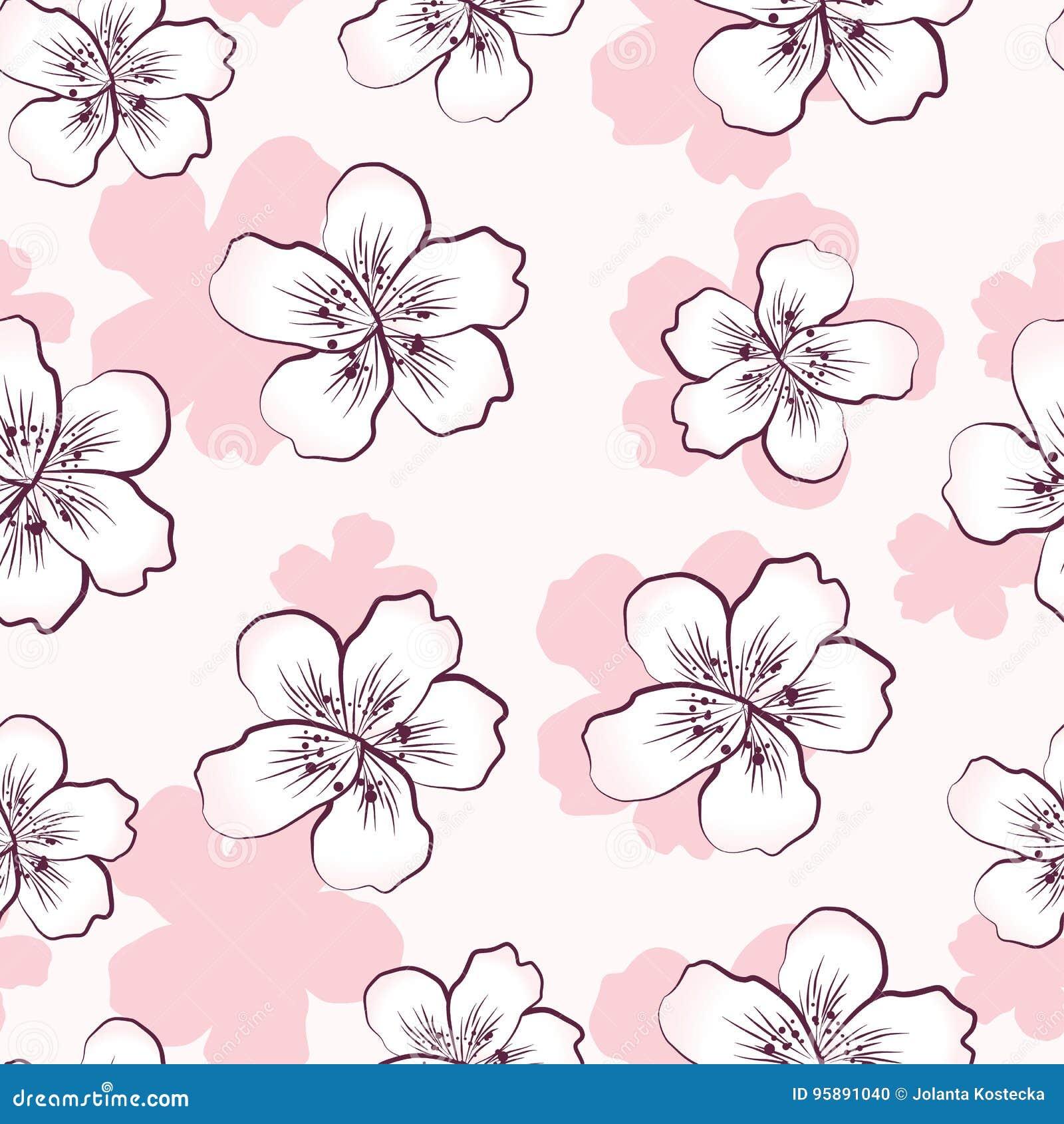 与桃红色樱花的无缝的样式