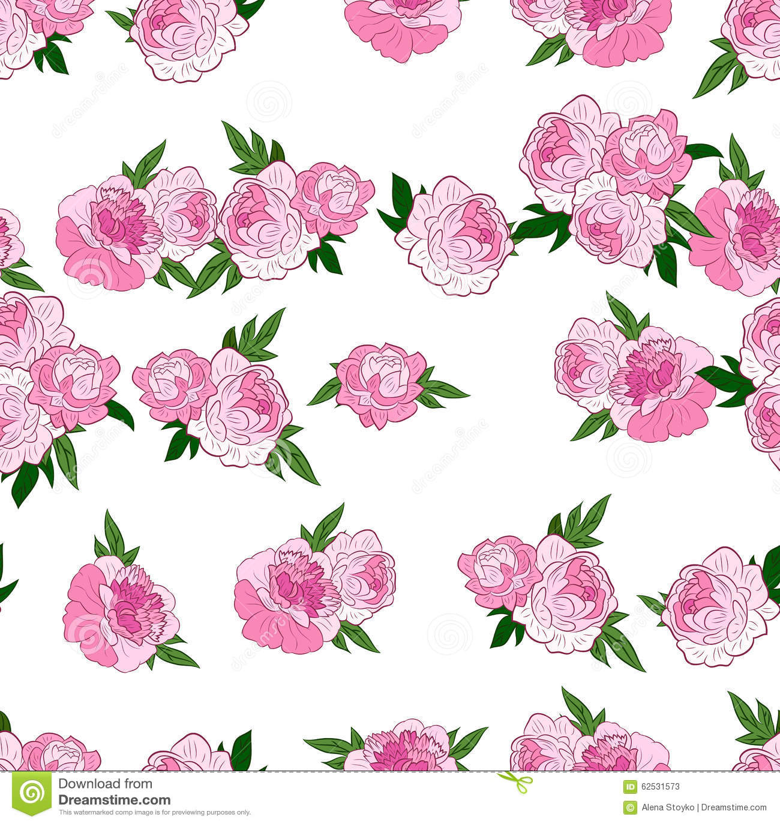 与桃红色牡丹的无缝的样式