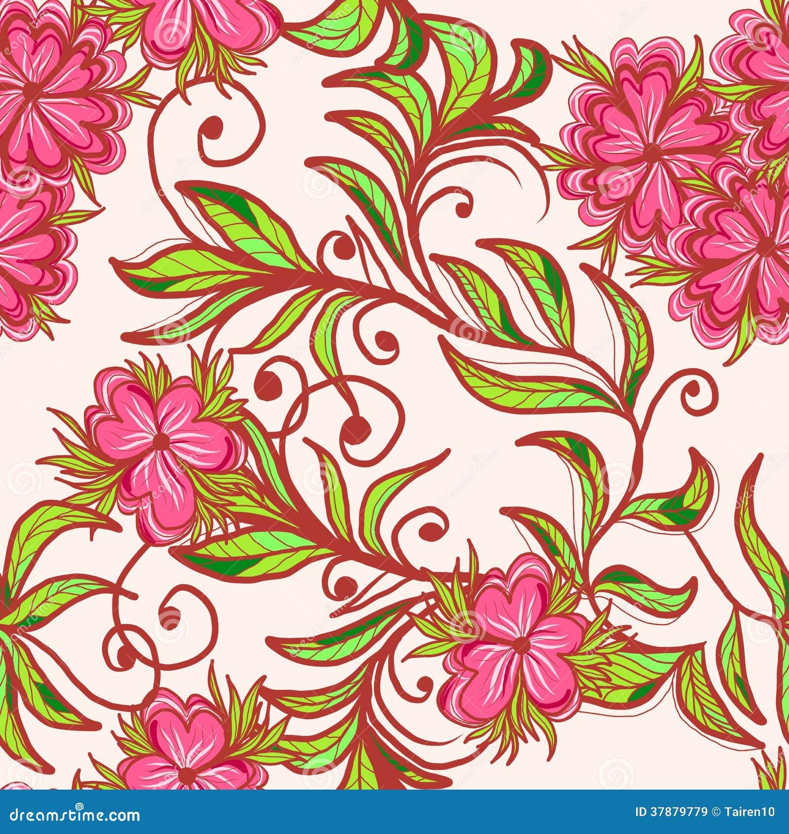 与桃红色花的无缝的样式