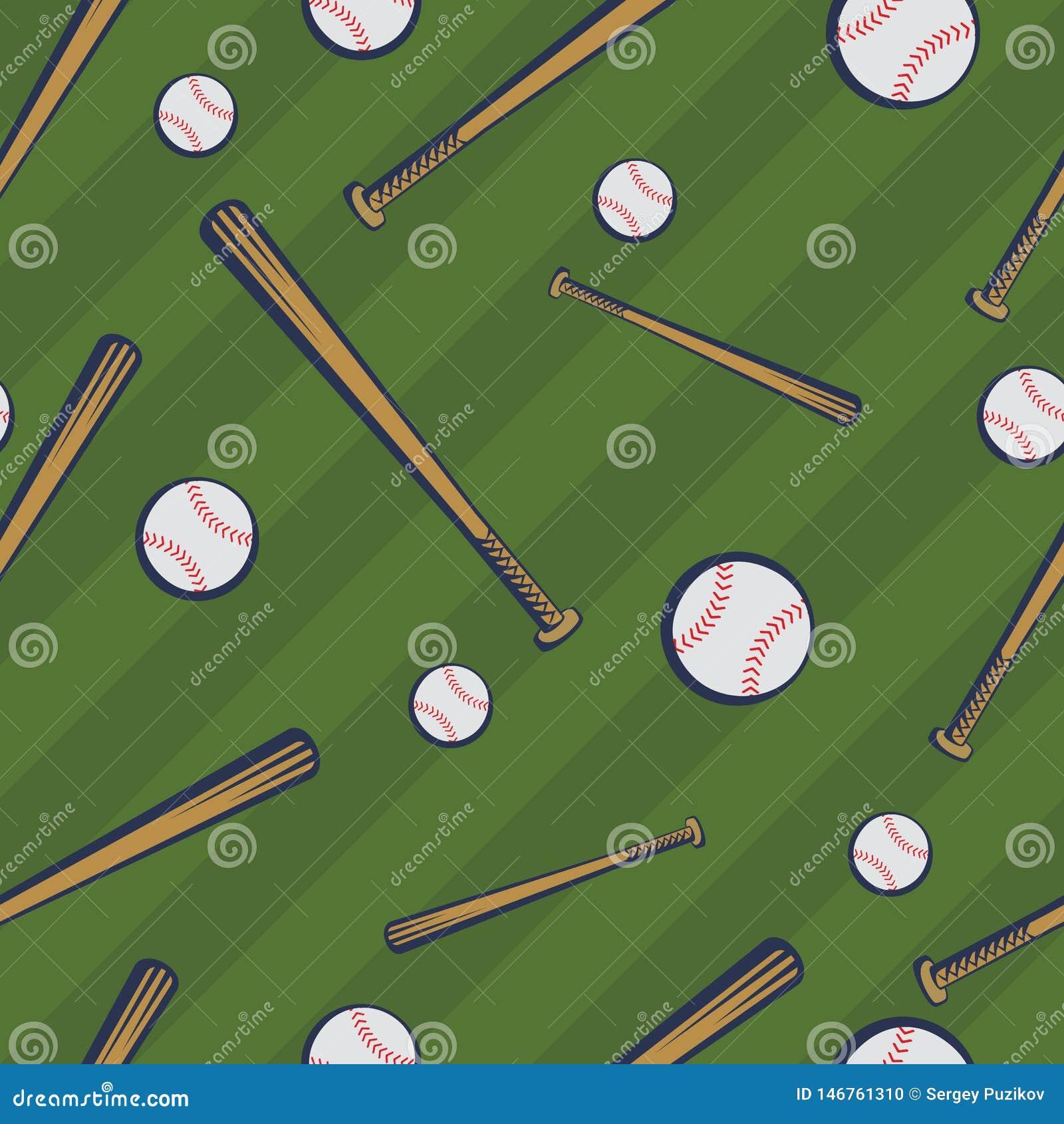 与棒球棒和棒球球的颜色棒球无缝的样式在绿色领域背景
