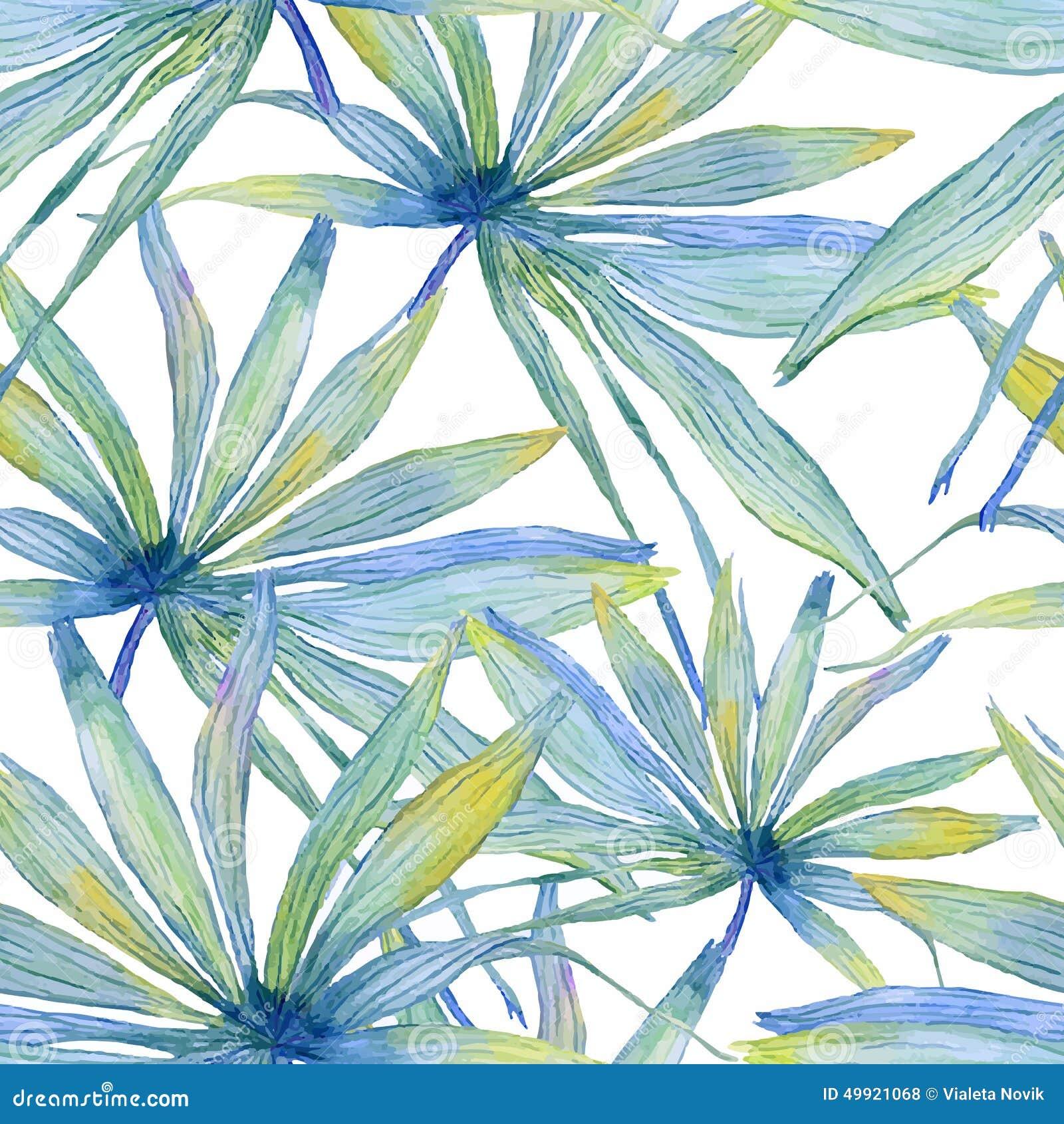 与棕榈叶的水彩无缝的样式