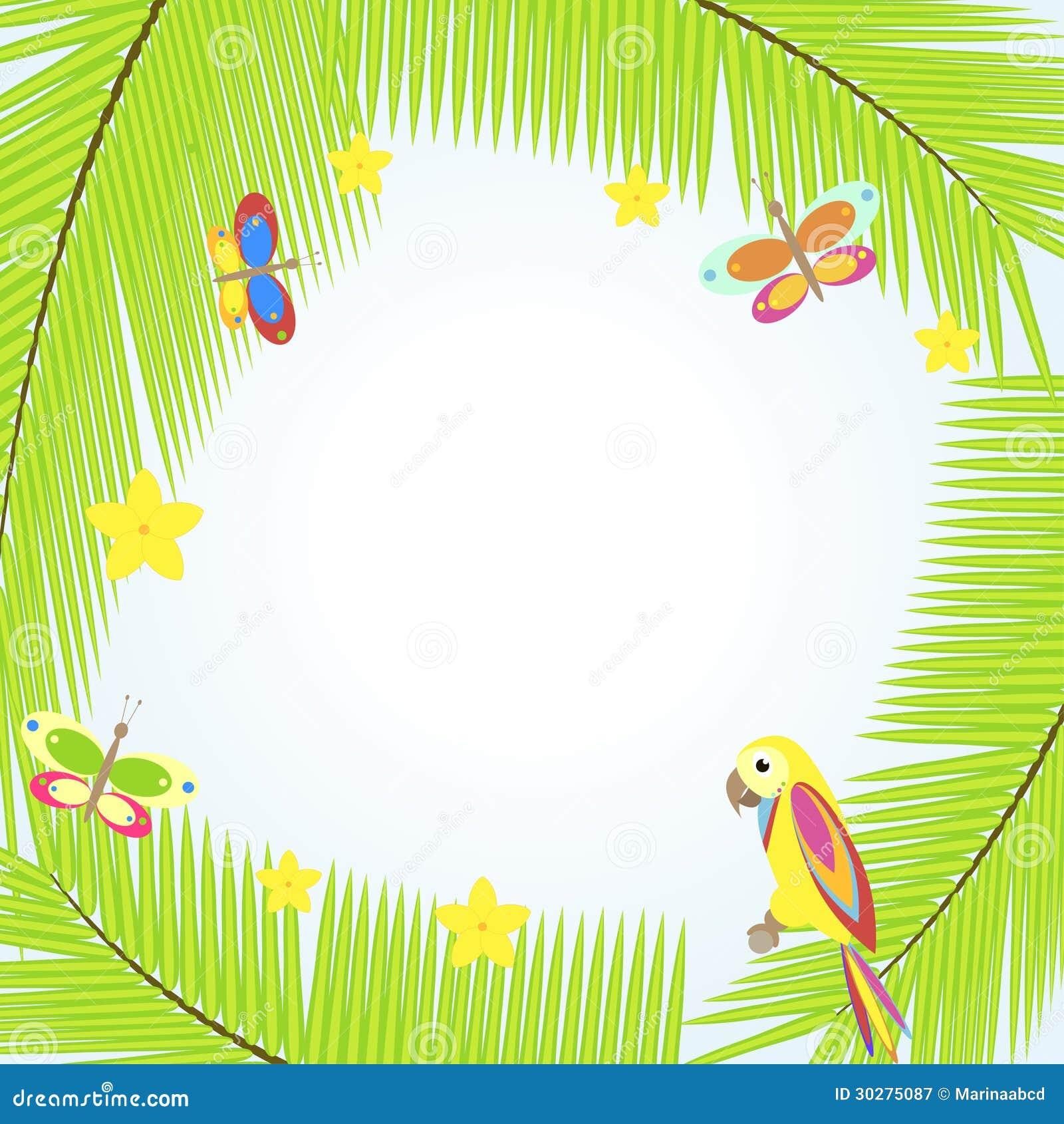 与棕榈树和鹦鹉的框架