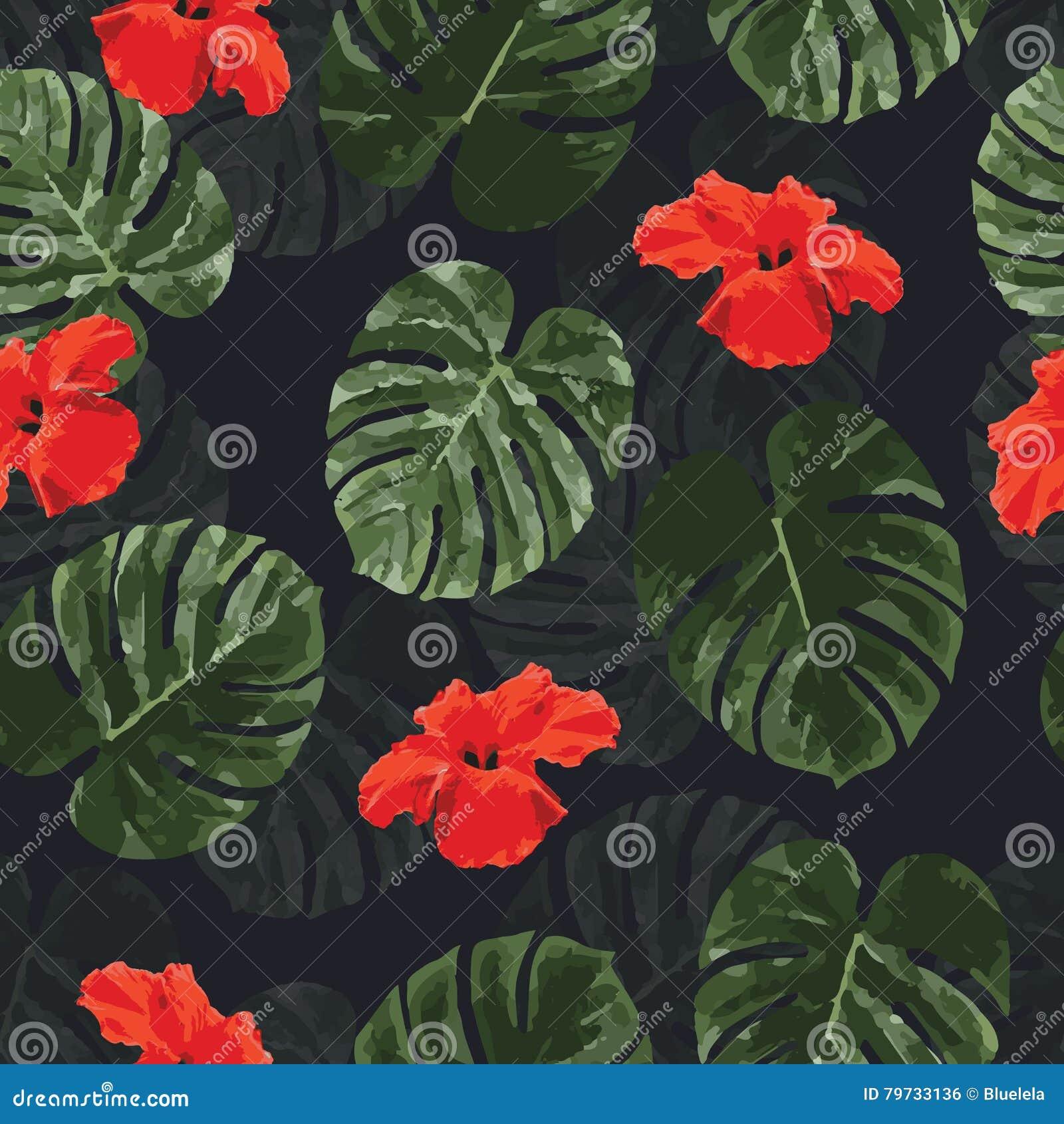 与棕榈monstera的热带无缝的样式离开并且开花