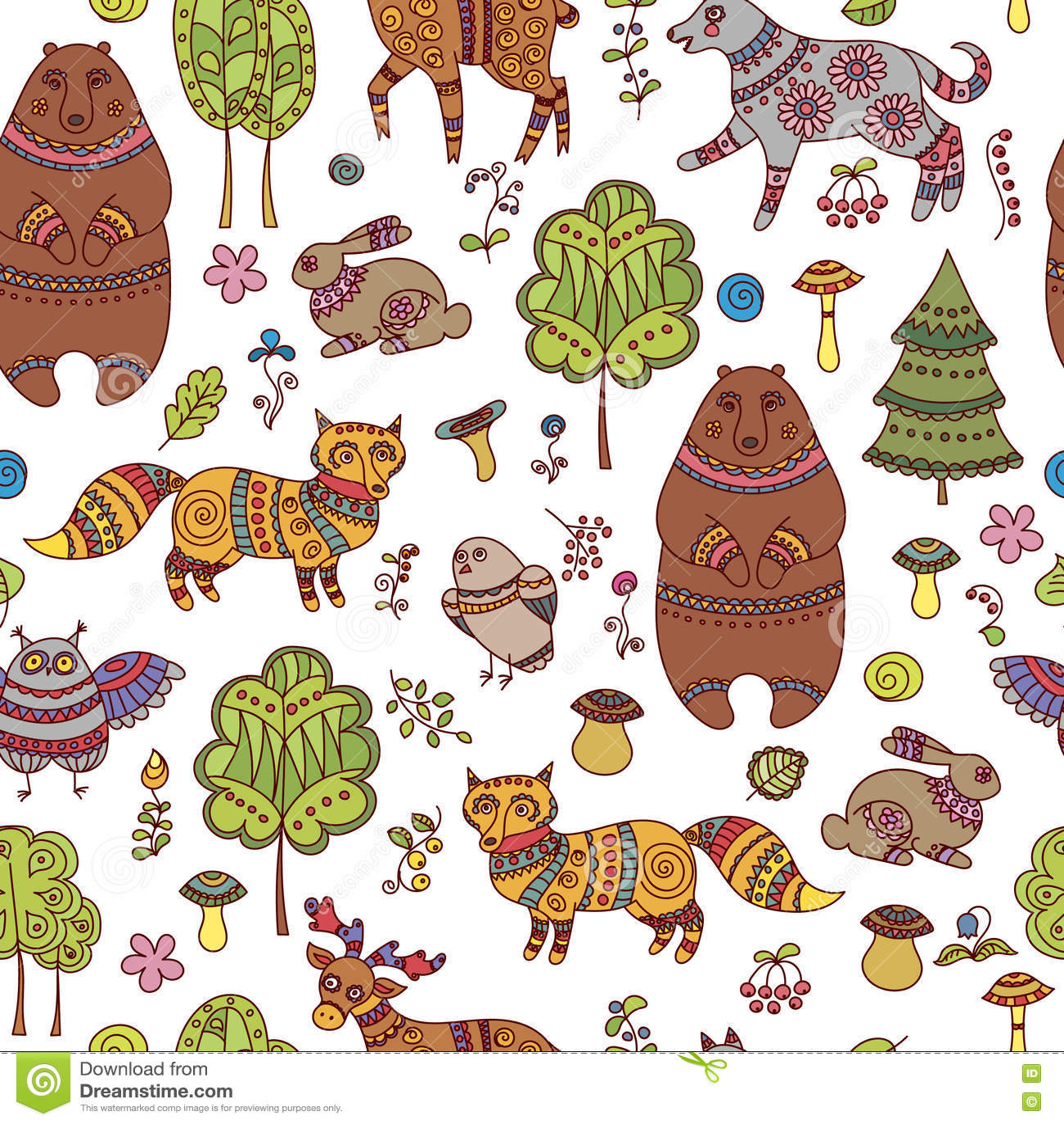 与森林动物和鸟的无缝的乱画样式图片