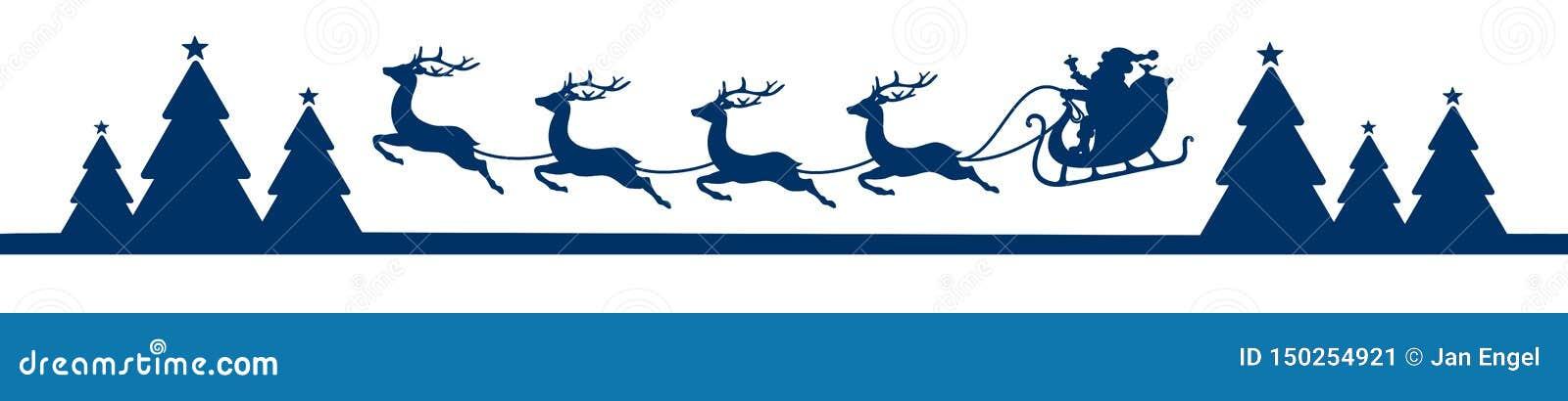 与森林蓝色的横幅飞行的圣诞节雪橇