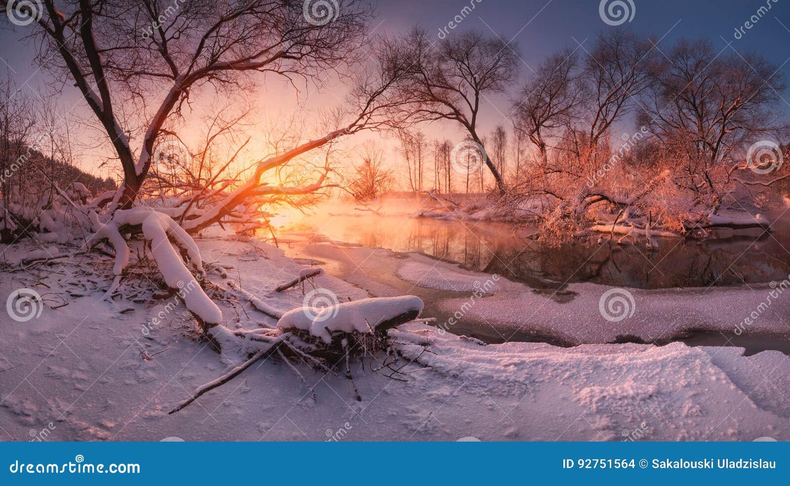 与森林,日落的美丽的结冰的河的全景俄国冬天风景 与冬天树、水和蓝天的风景