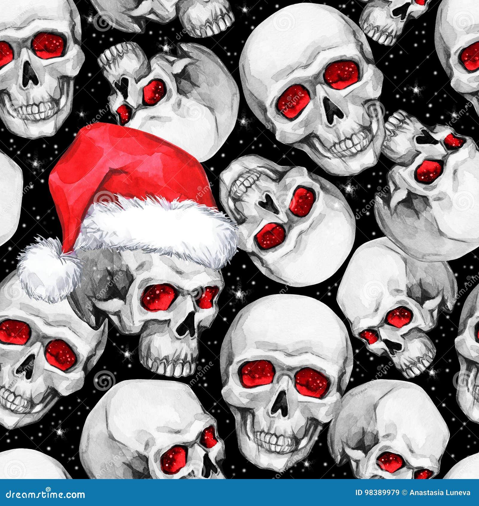 与概略头骨的水彩无缝的样式在圣诞老人帽子 Cretive新年 多孔黏土可用的庆祝文件例证以图例解释者 可以用途