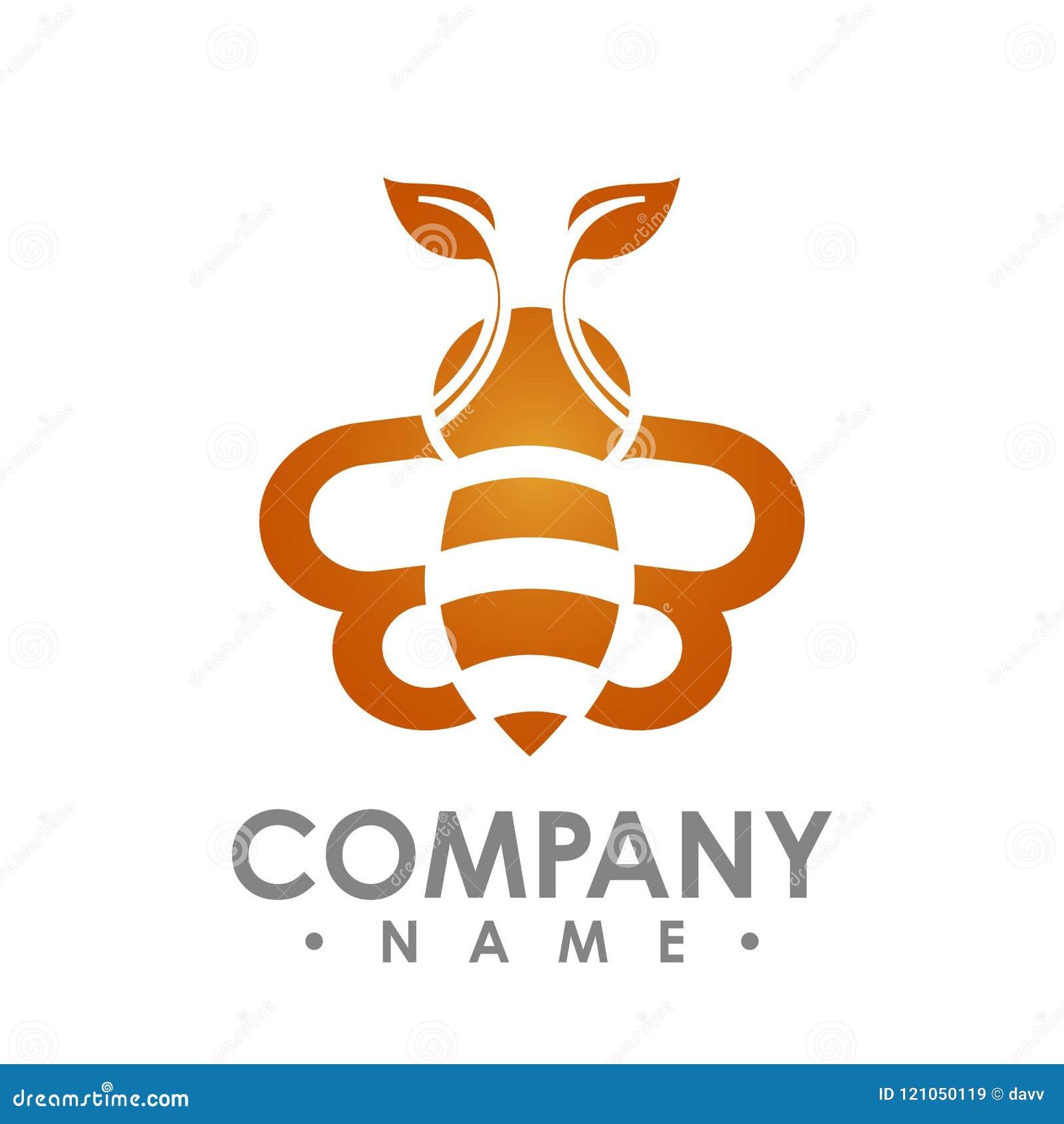 与橙色叶子翼传染媒介商标illus的商标抽象蜂飞行