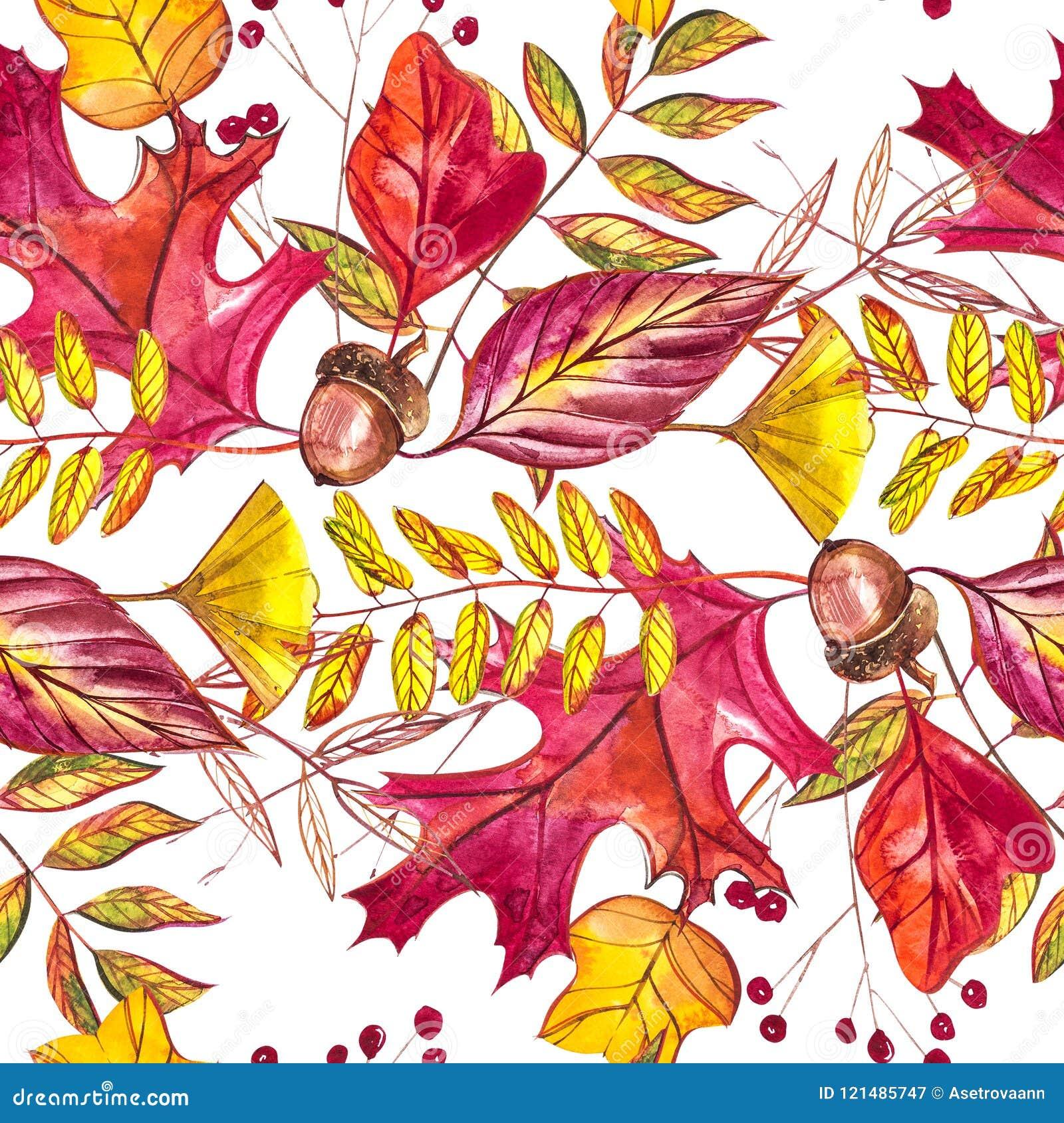 与橡子和秋天橡木的无缝的样式在橙色,米黄,棕色和黄色离开 为墙纸,礼物纸完善