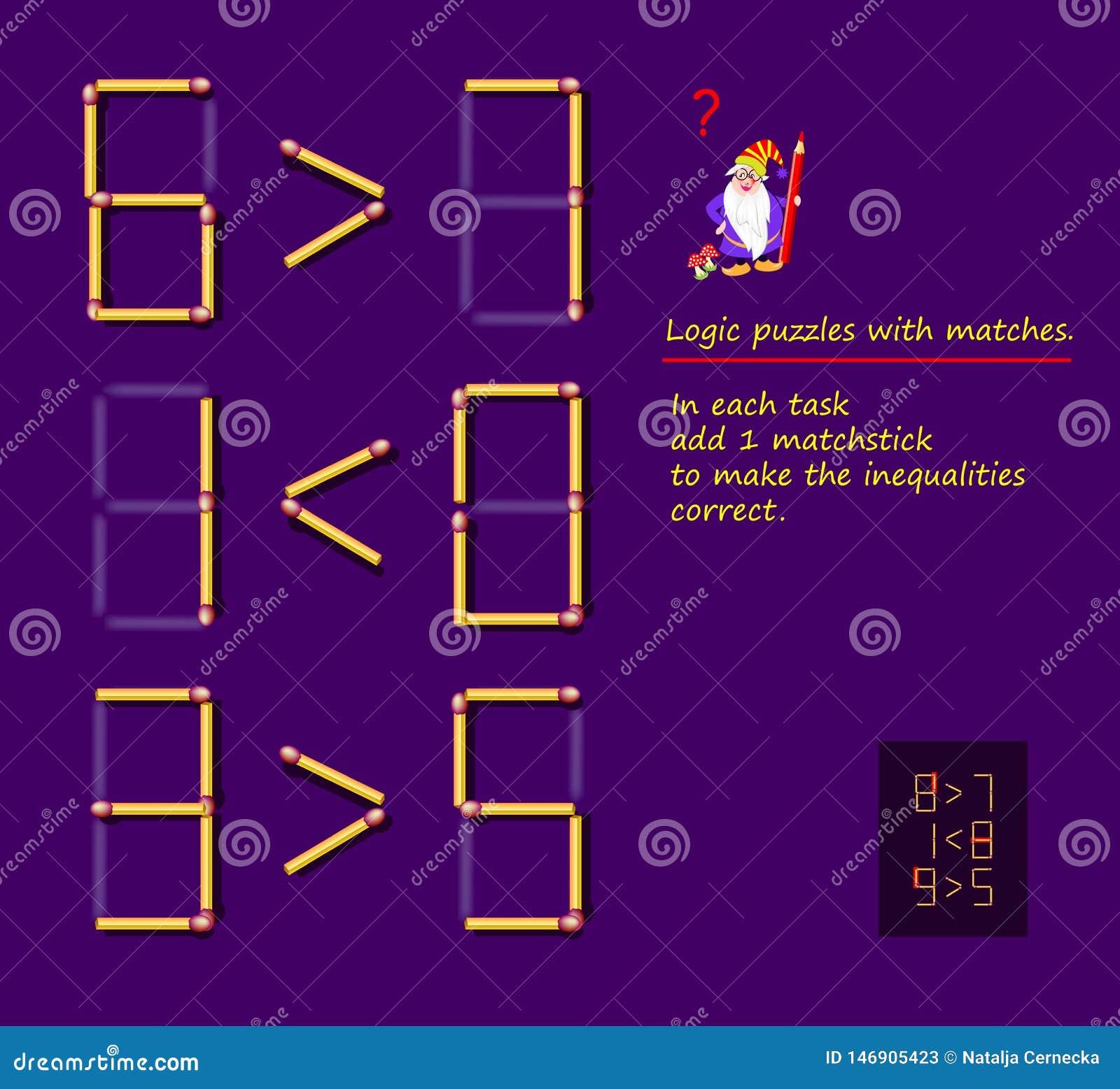 与比赛的逻辑难题比赛 在每项任务增加1火柴梗使不平等正确 难题的可印的页