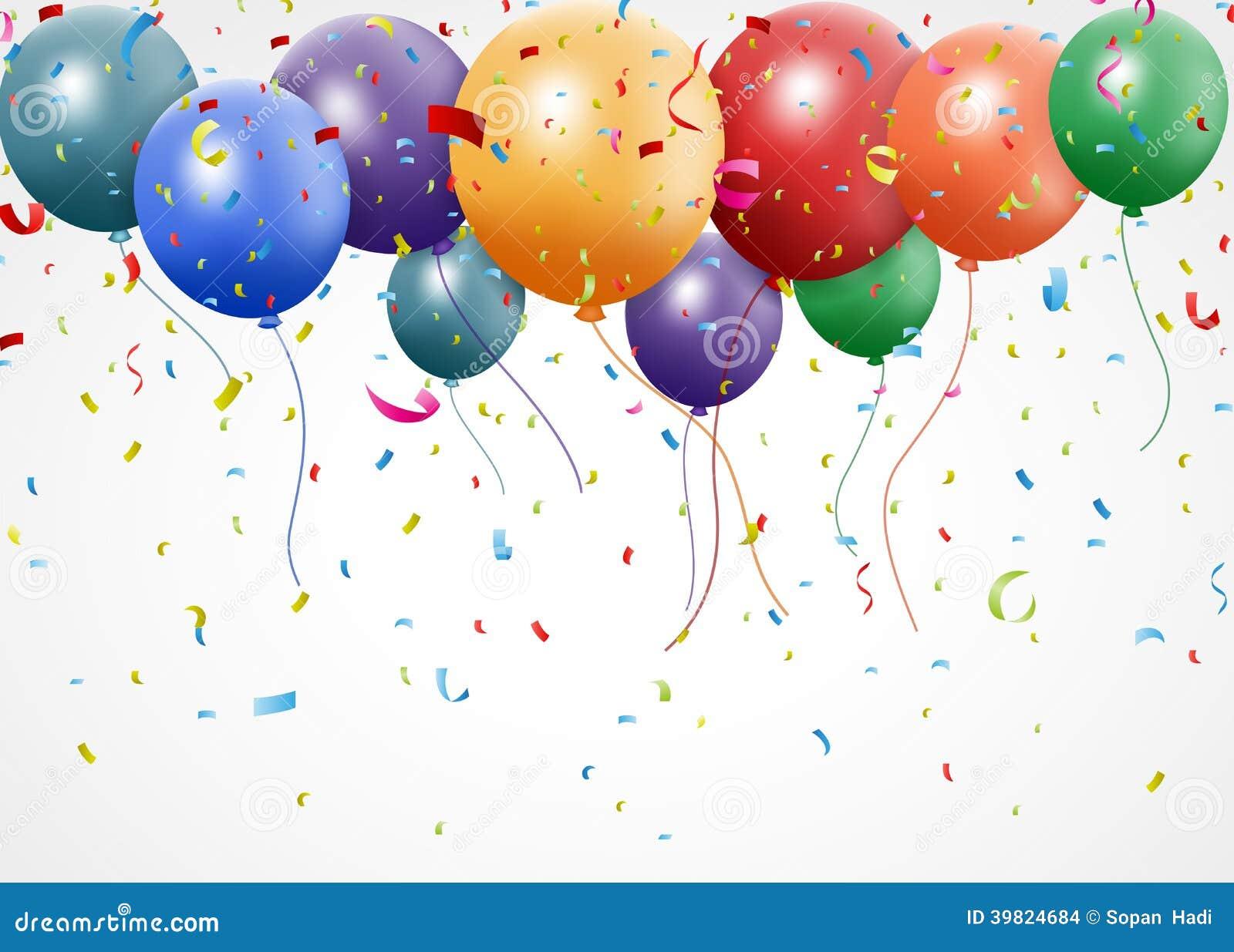 与气球和丝带的新的生日庆祝