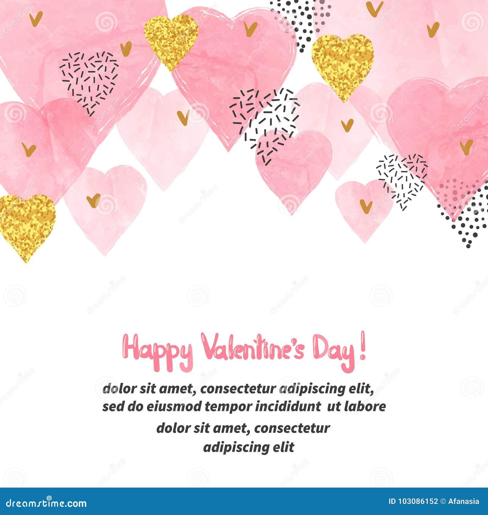 与水彩桃红色心脏的情人节文本的背景和地方