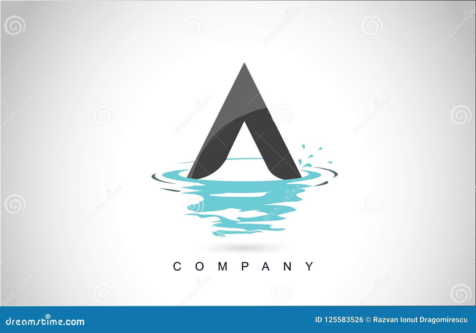 与水飞溅的一个信件商标设计起波纹下落反射