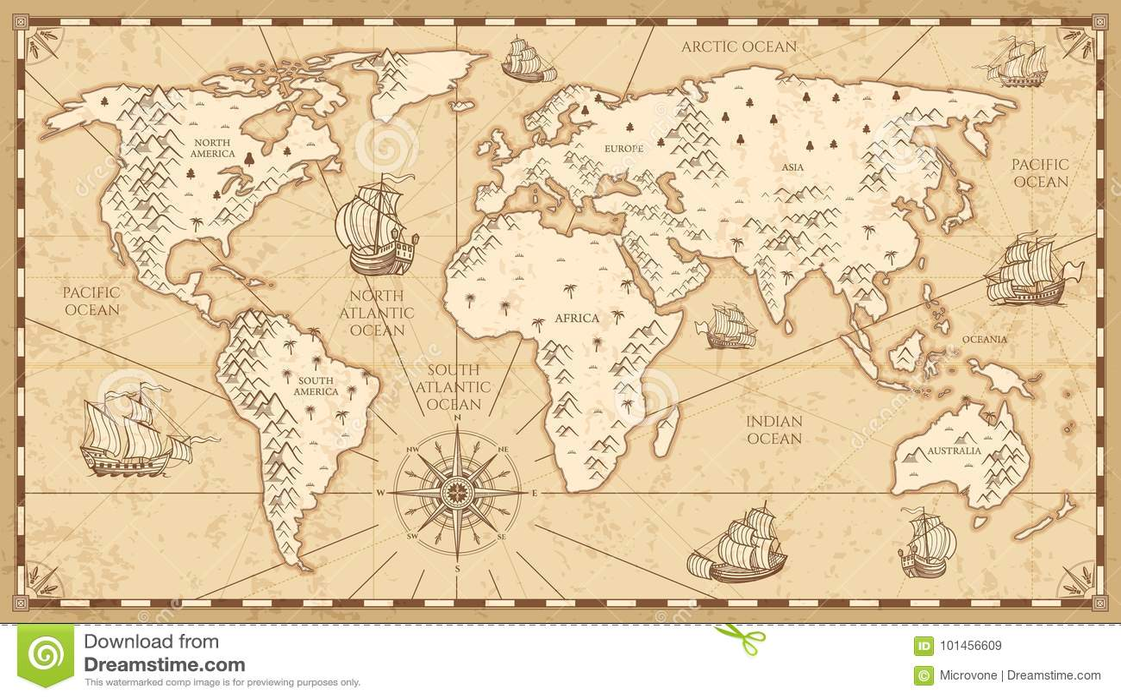 与河的葡萄酒物理世界地图和山导航例证