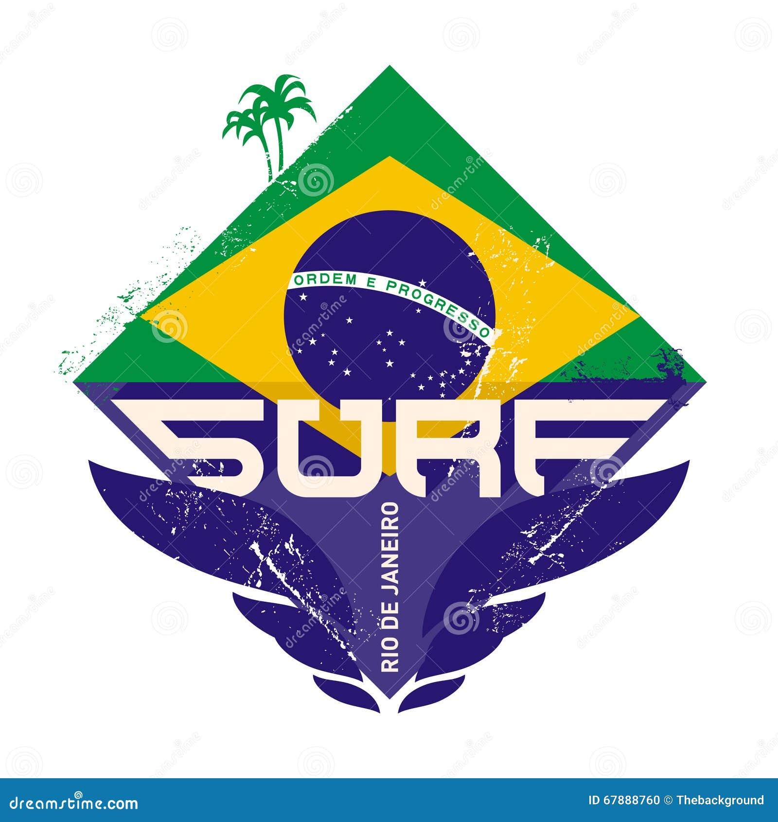 与波浪、棕榈和巴西旗子的冲浪的葡萄酒标签 海浪Vec