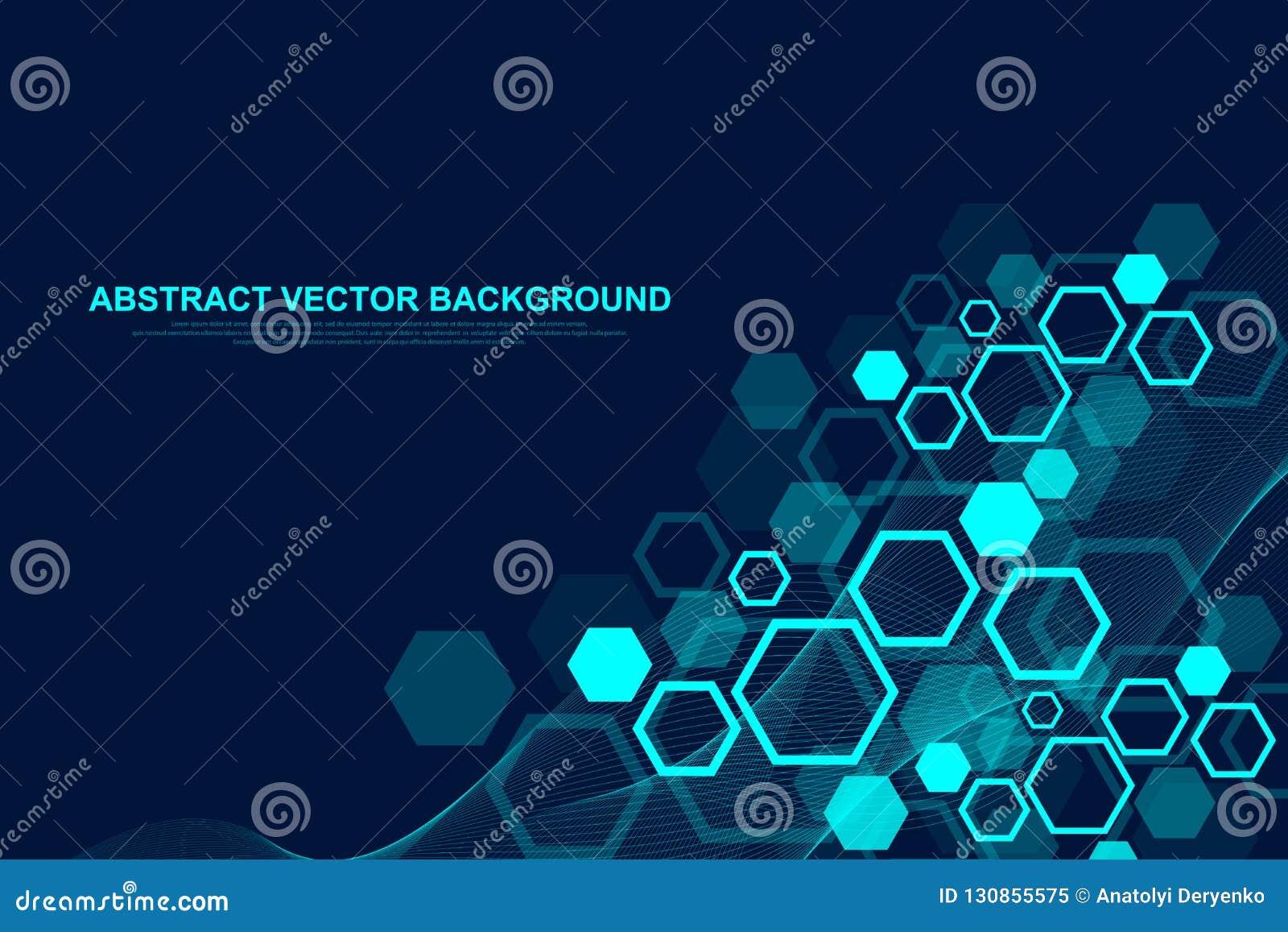 与波浪的抽象六角背景 六角分子结构 未来派技术背景在科学