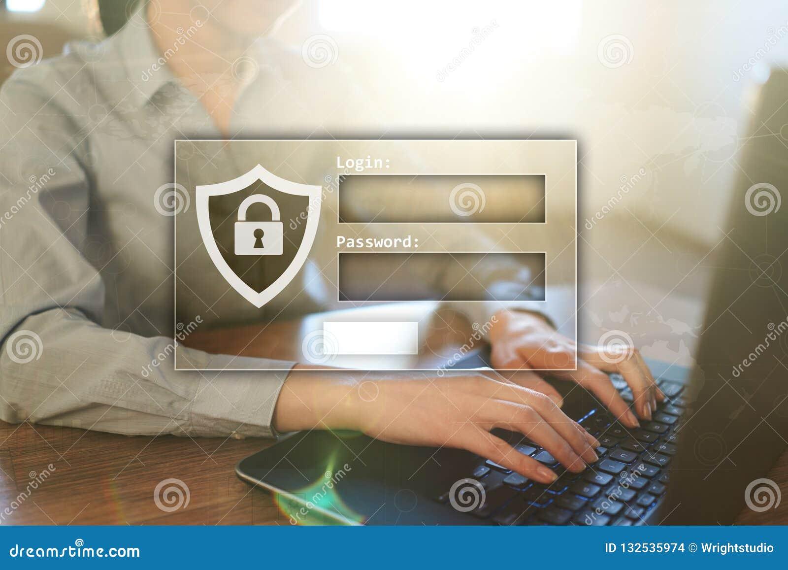 与注册和密码的通入窗口 Cybersecurity和数据保护概念在虚屏上