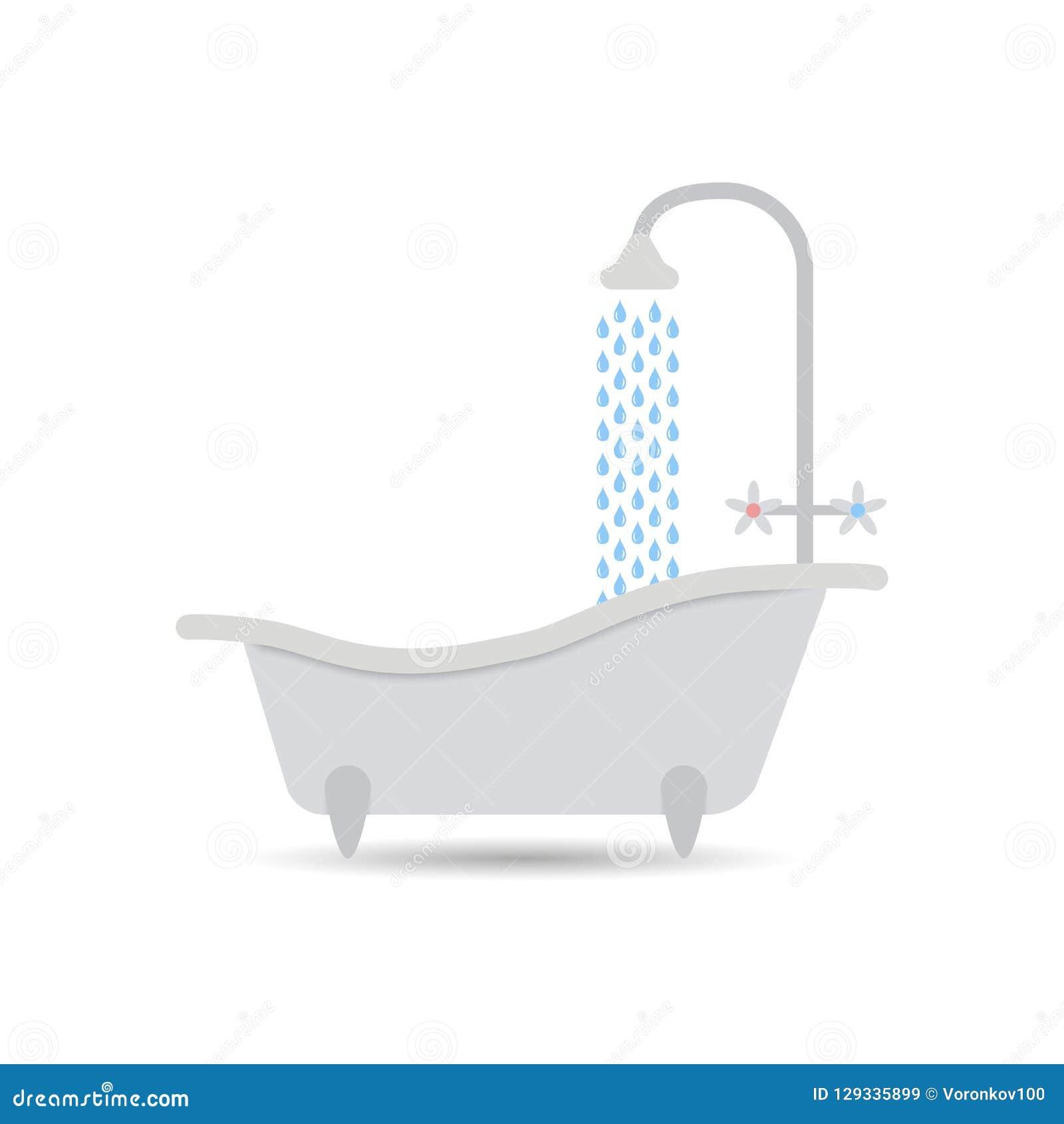 与流动的水的浴缸象 在轻的背景隔绝的浴缸传染媒介 您设计的要素