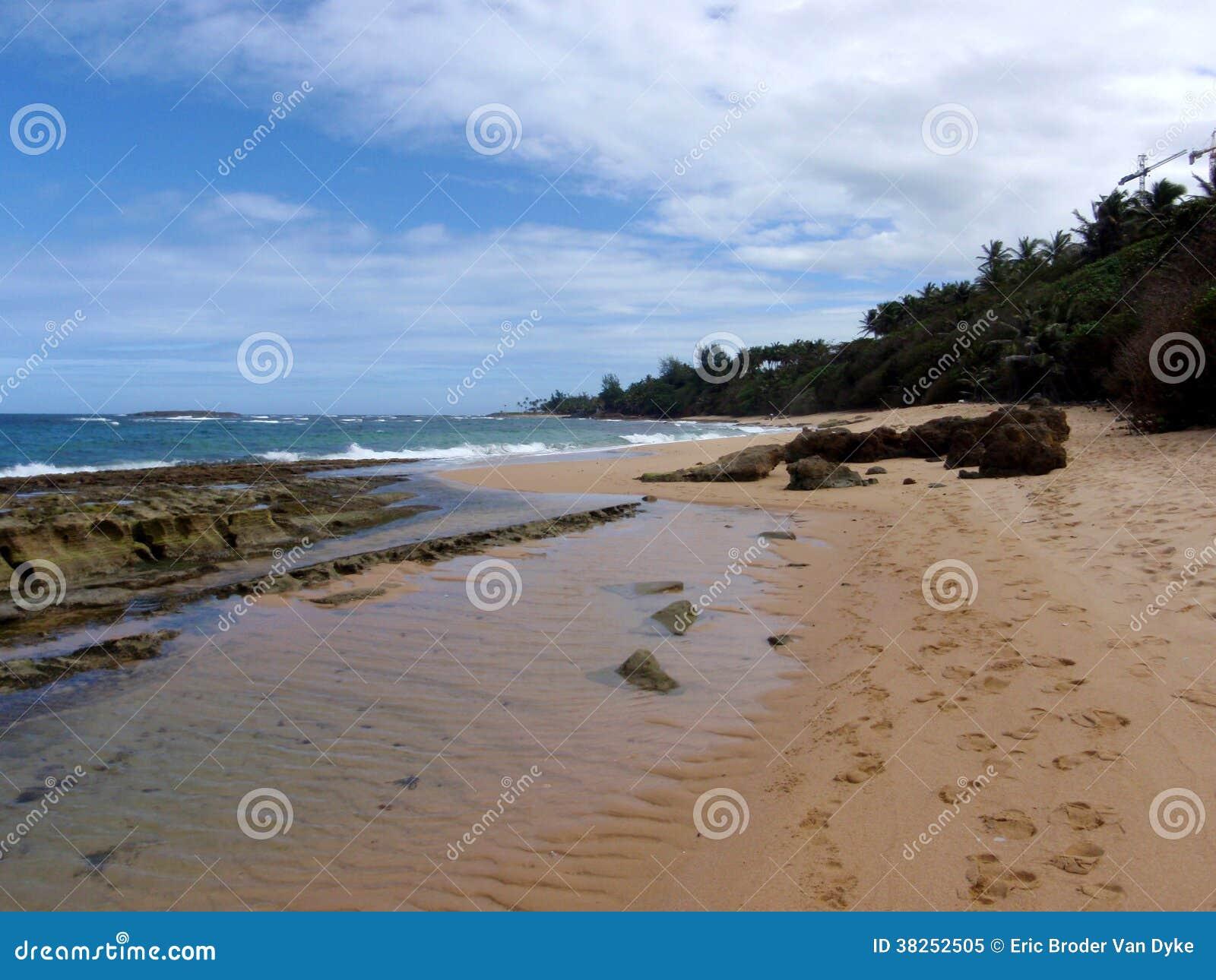 与浪潮水池和脚印刷品的海滩