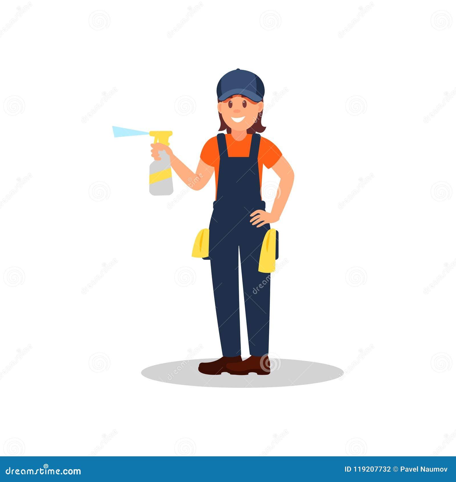 与浪花瓶的妇女擦净剂清洁液体和旧布 运转的制服的年轻微笑的女孩 平的传染媒介设计
